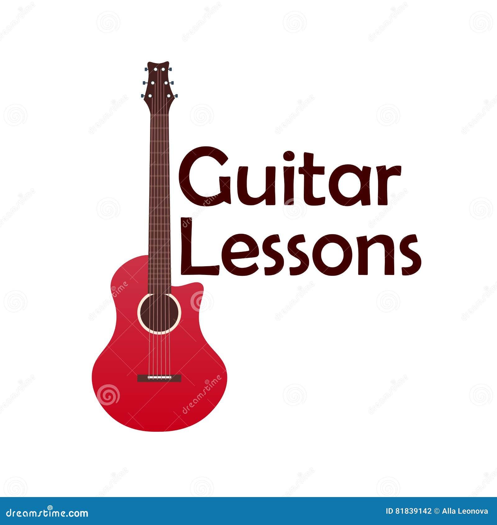 Gitar lekcje, szkolny logo Wektorowa płaska ilustracja muzyka