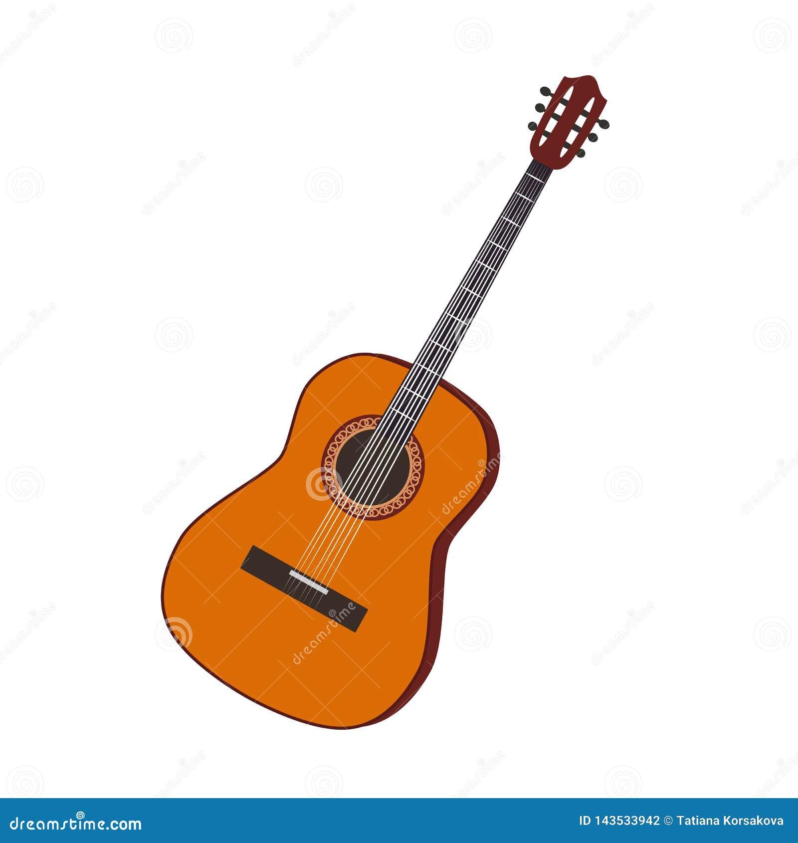 Gitara instrumentu muzycznego ilustracyjny wektorowy płaski realistyczny