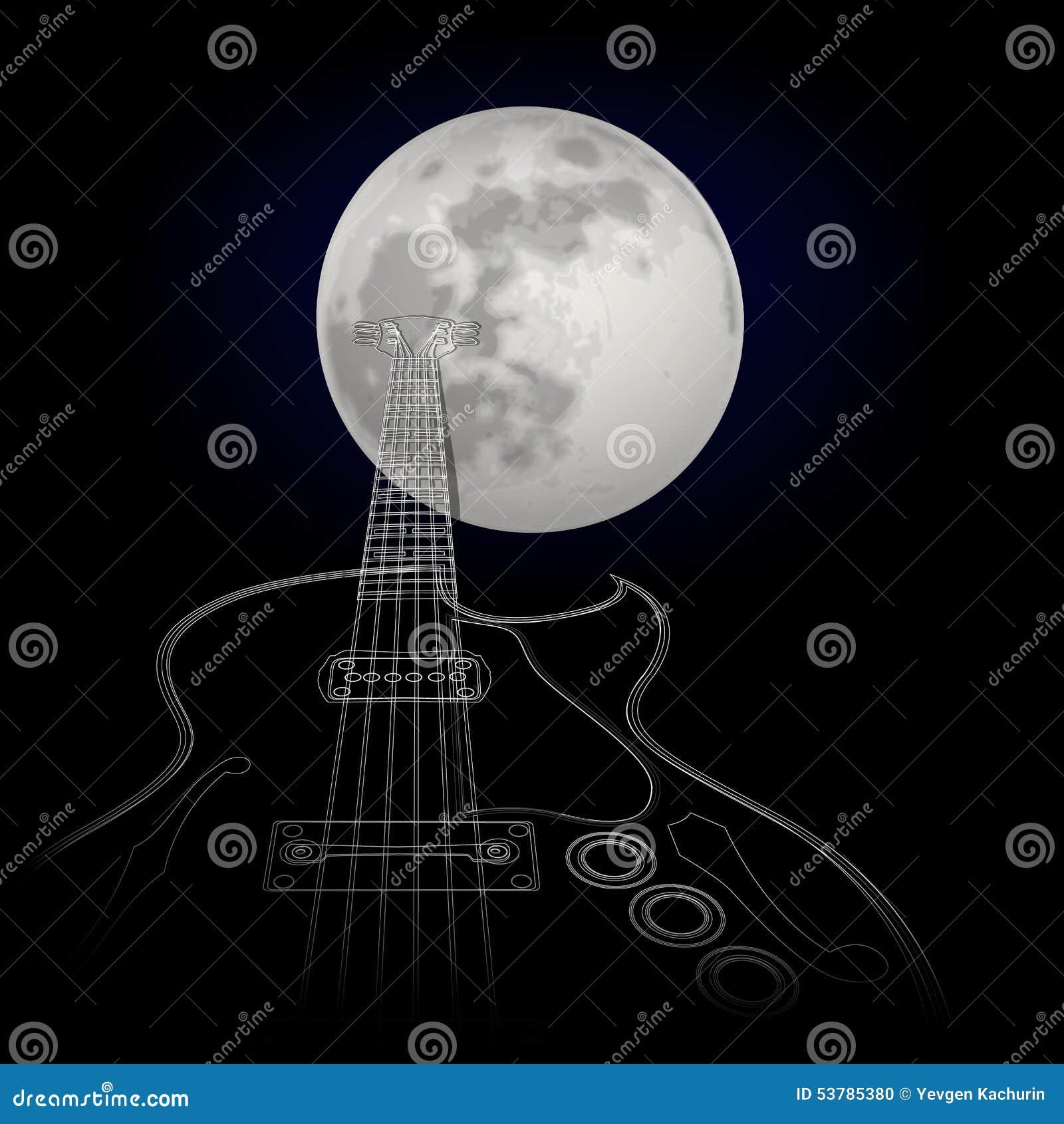 Gitara na tle księżyc