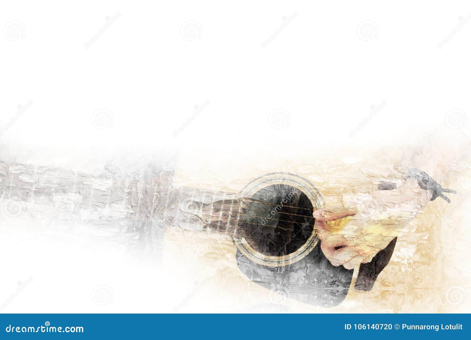 Gitarren i förgrunden på vattenfärgmålningbakgrund och den Digital illustrationen borstar till konst