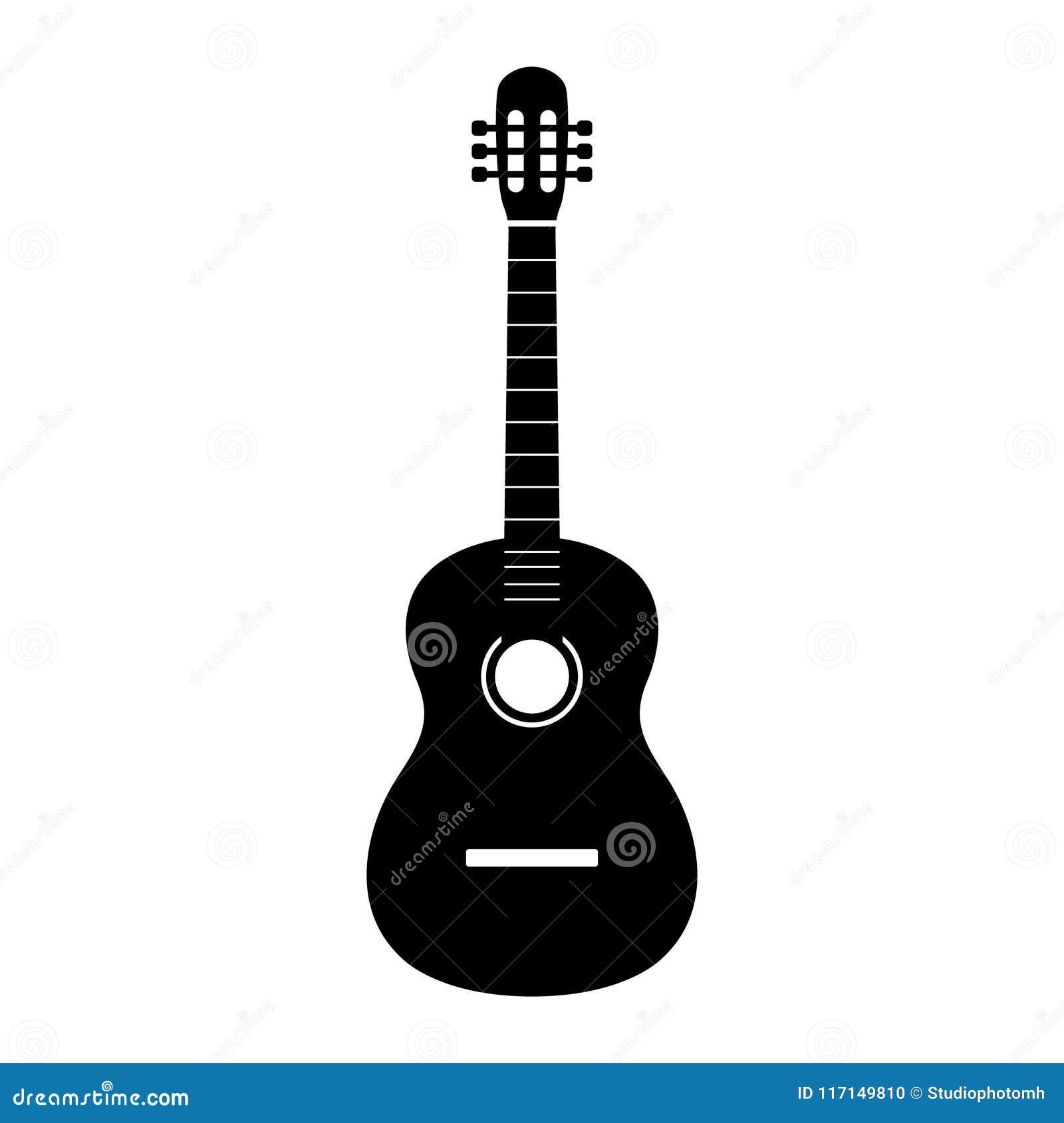 Gitarrsymbolsvektor, akustiskt musikinstrumenttecken som isoleras på vit bakgrund Moderiktig plan stil för grafisk design