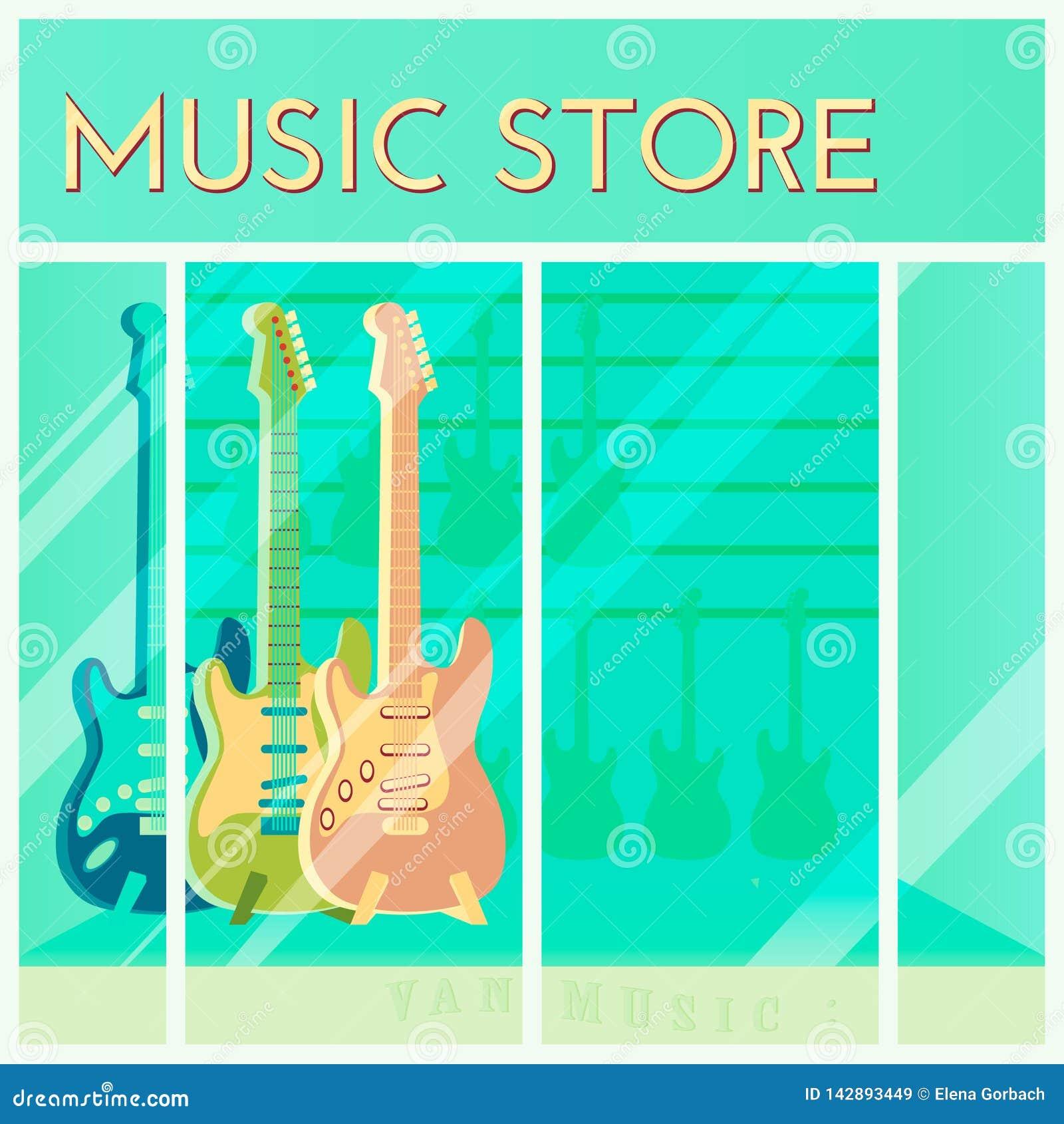Gitary dla sprzedaży obwieszenia w muzycznym sklepie Zakupy t?o Kresk?wka styl Sklepu detalicznego okno r?wnie? zwr?ci? corel ilu