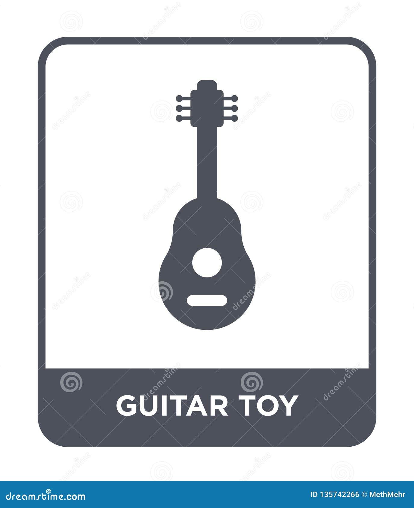 Gitary zabawkarska ikona w modnym projekta stylu gitary zabawkarska ikona odizolowywająca na białym tle gitary zabawkarska wektor