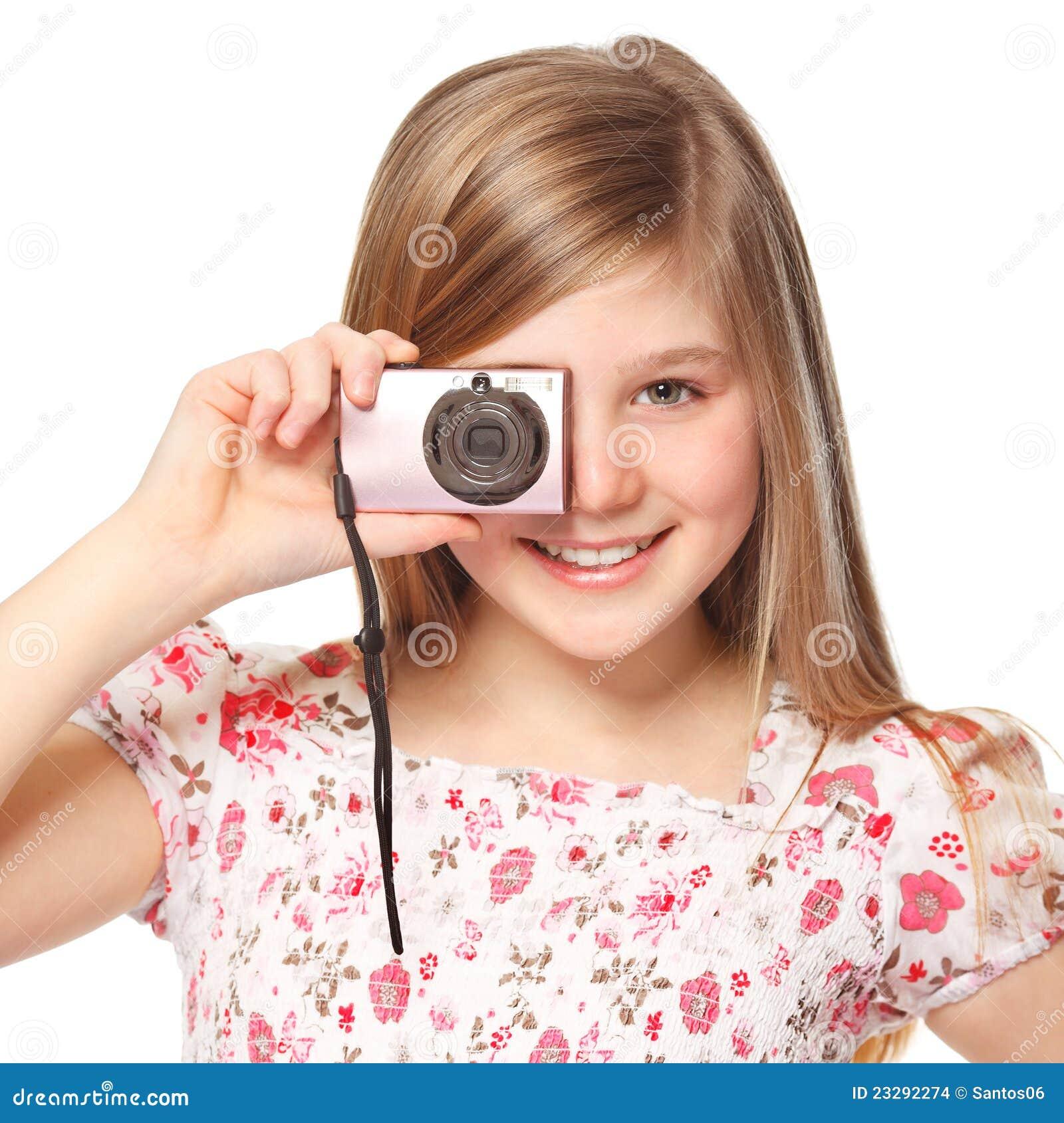 Gitrl met digitale camera