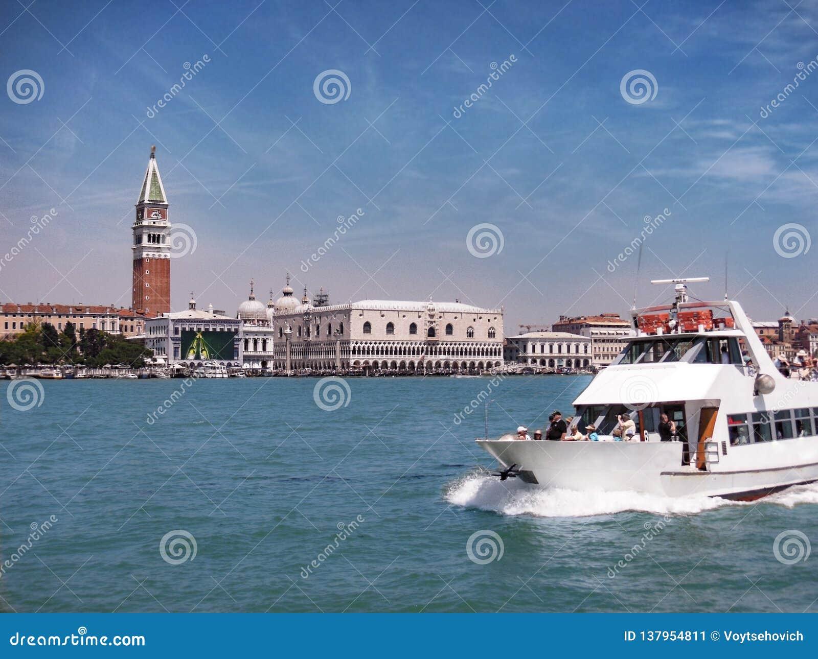 Giudecca kanalritt, Venedig, Italien