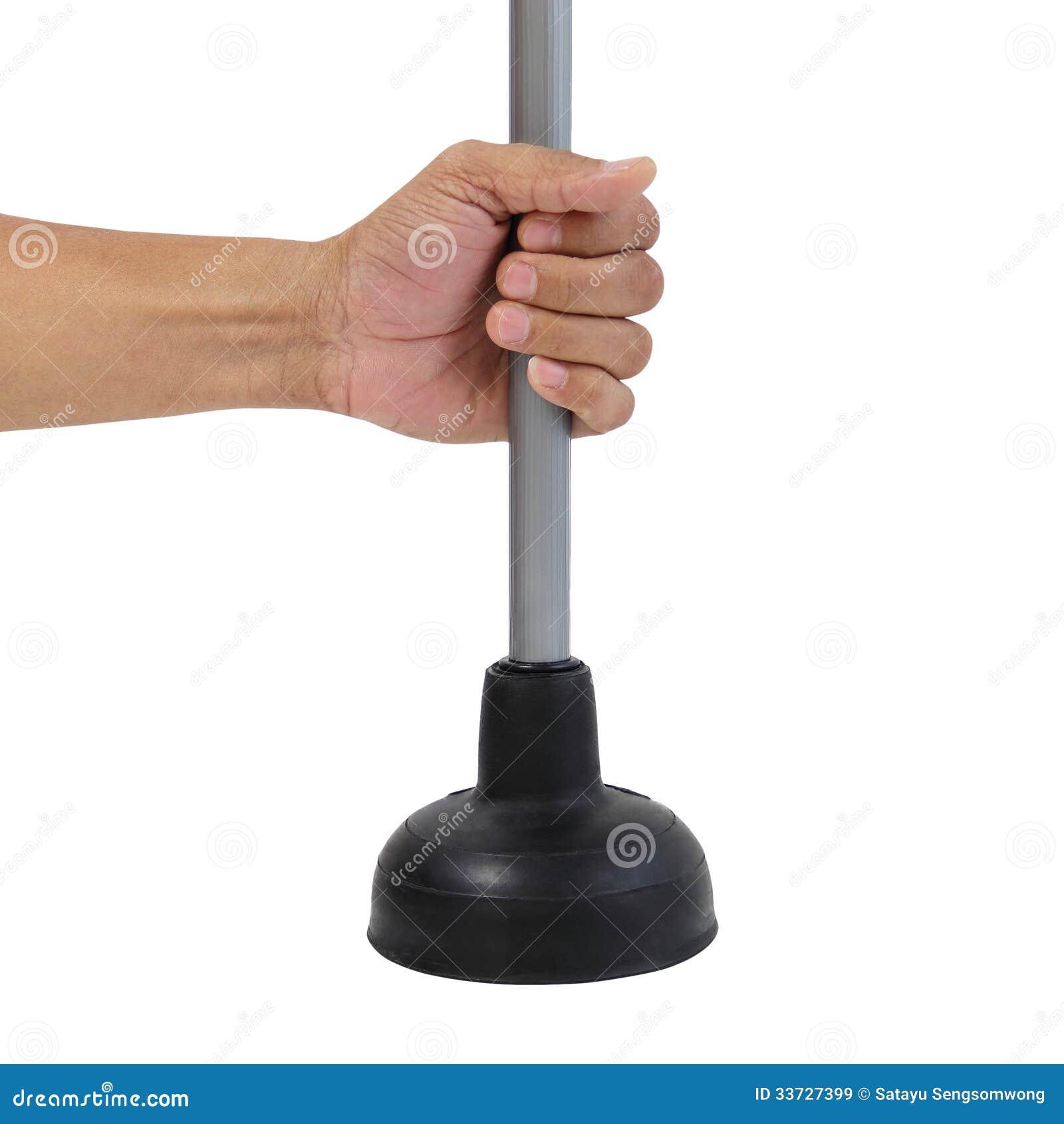 Giudicando tuffatore di gomma nero per la pompa di toilette isolato