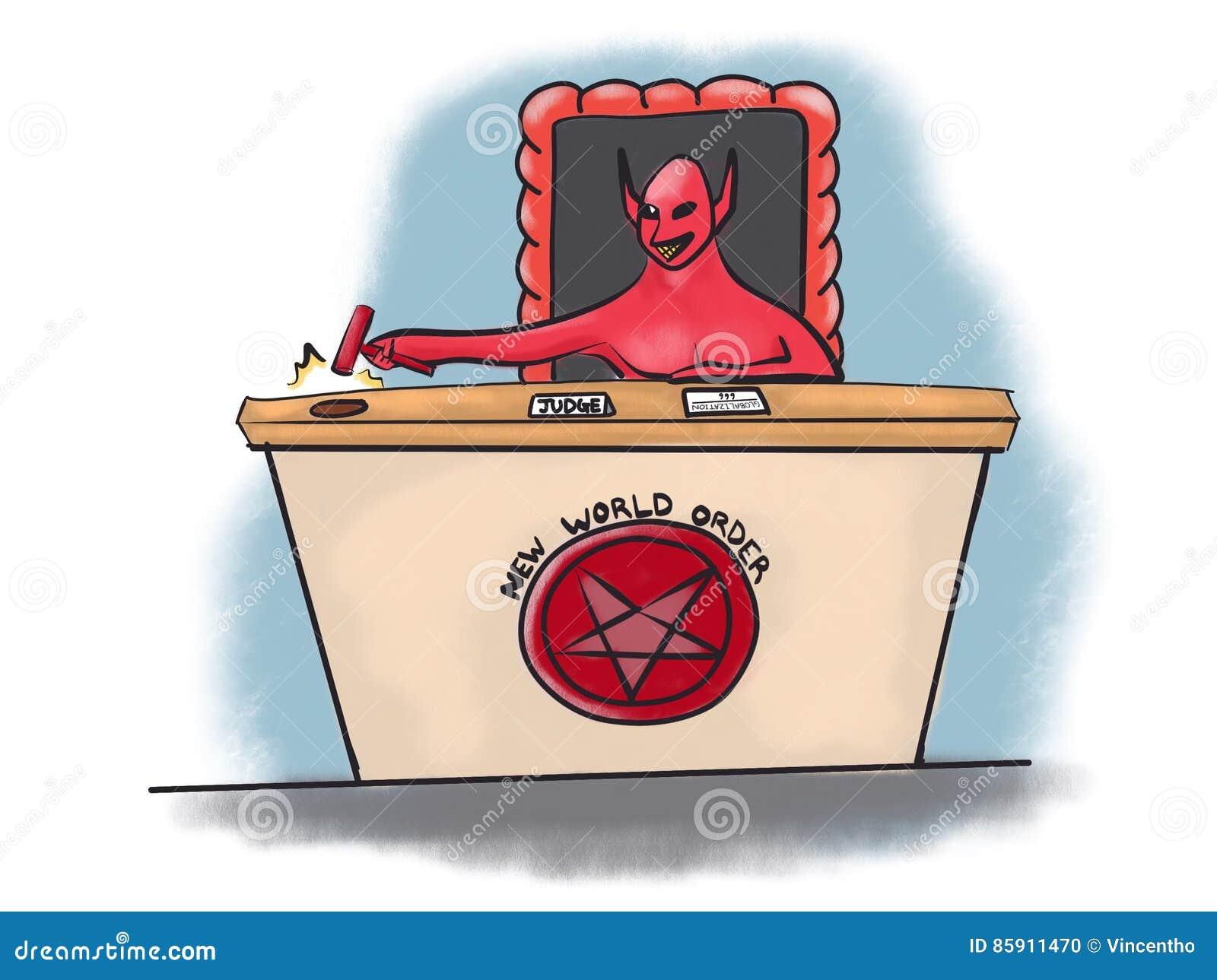 Giudice Globalization Cartoon Illustration del diavolo di nuovo ordine mondiale