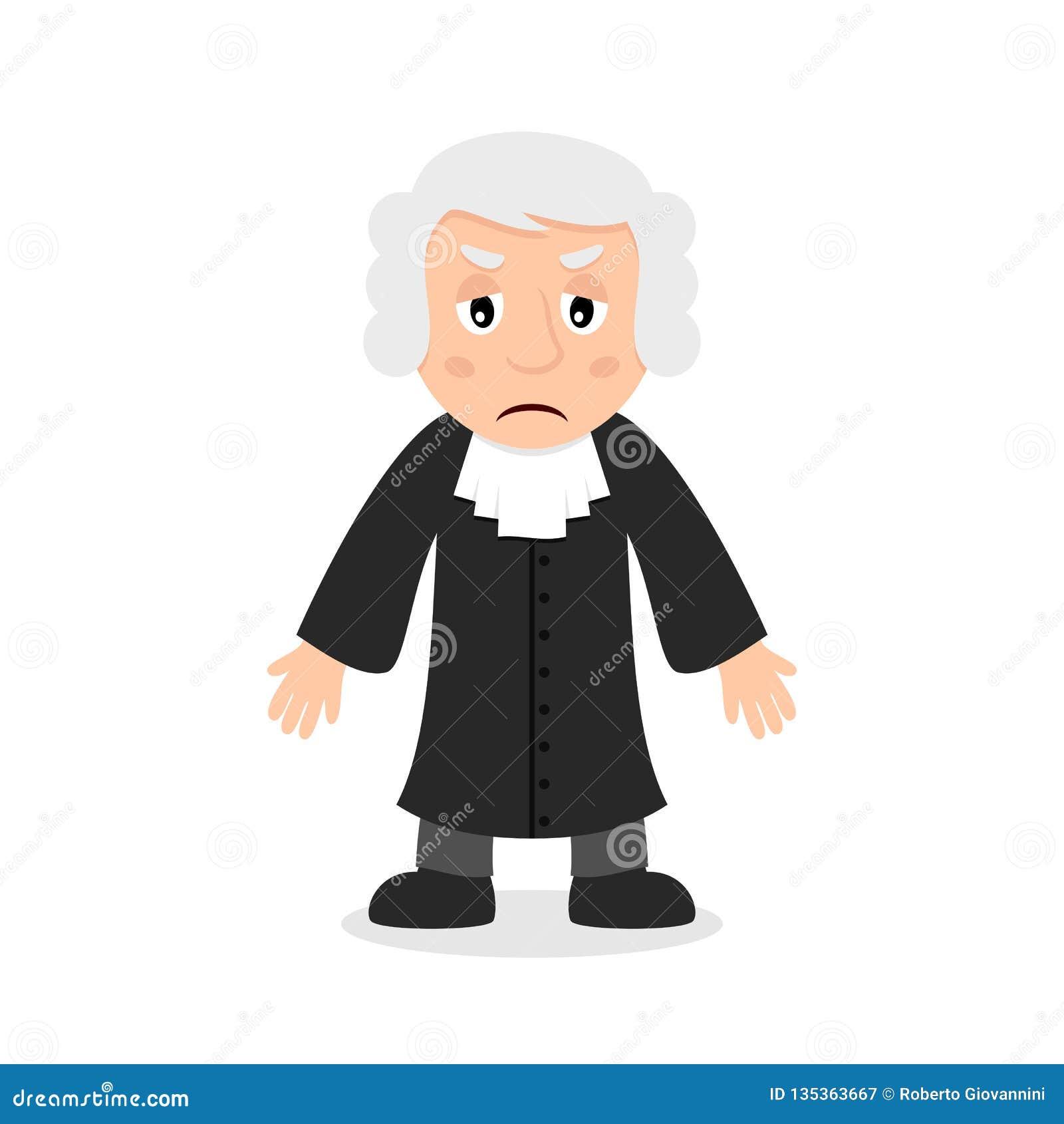 Giudice triste Cartoon Character
