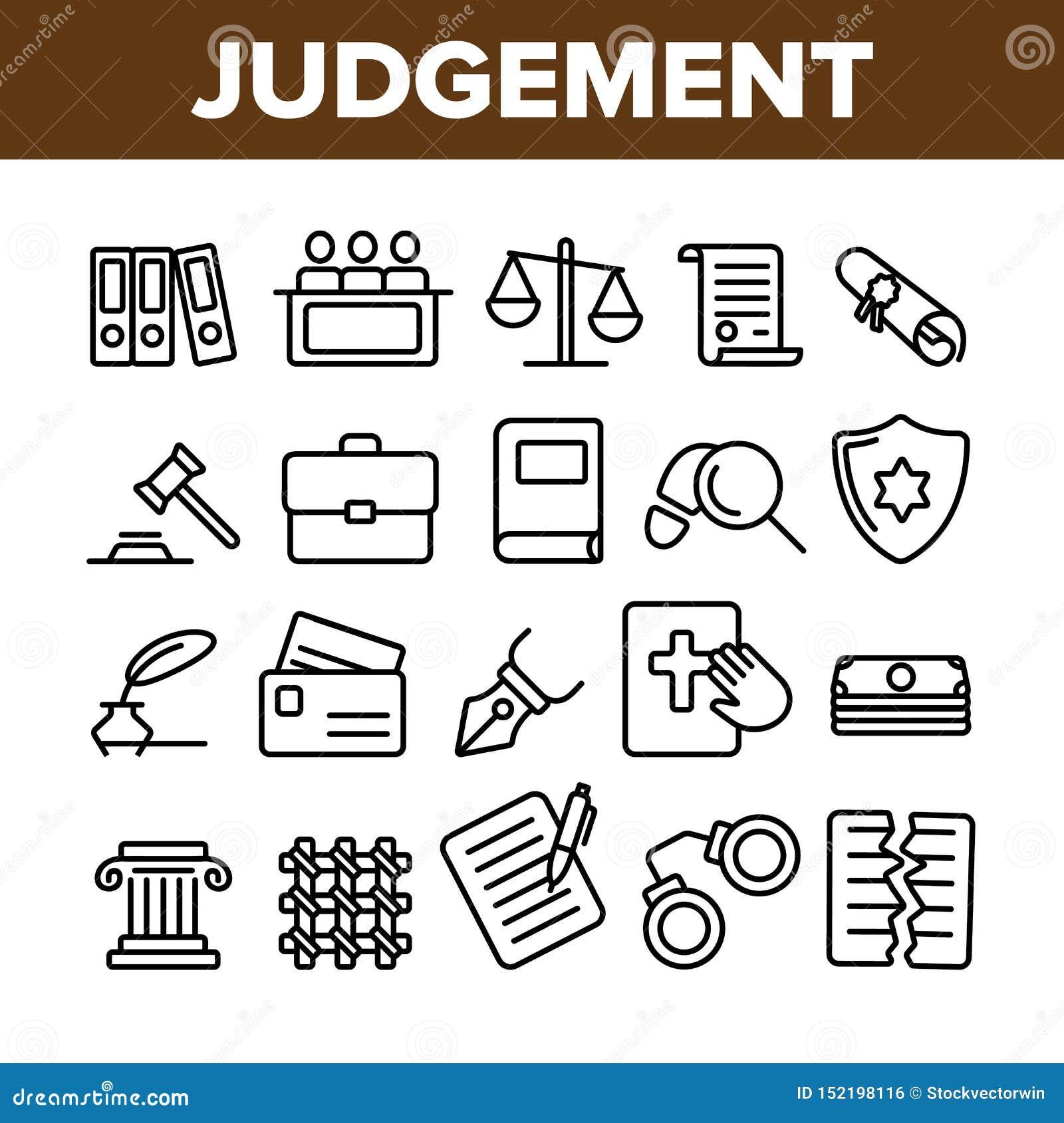 Giudizio, linea sottile insieme di vettore di processo della corte delle icone