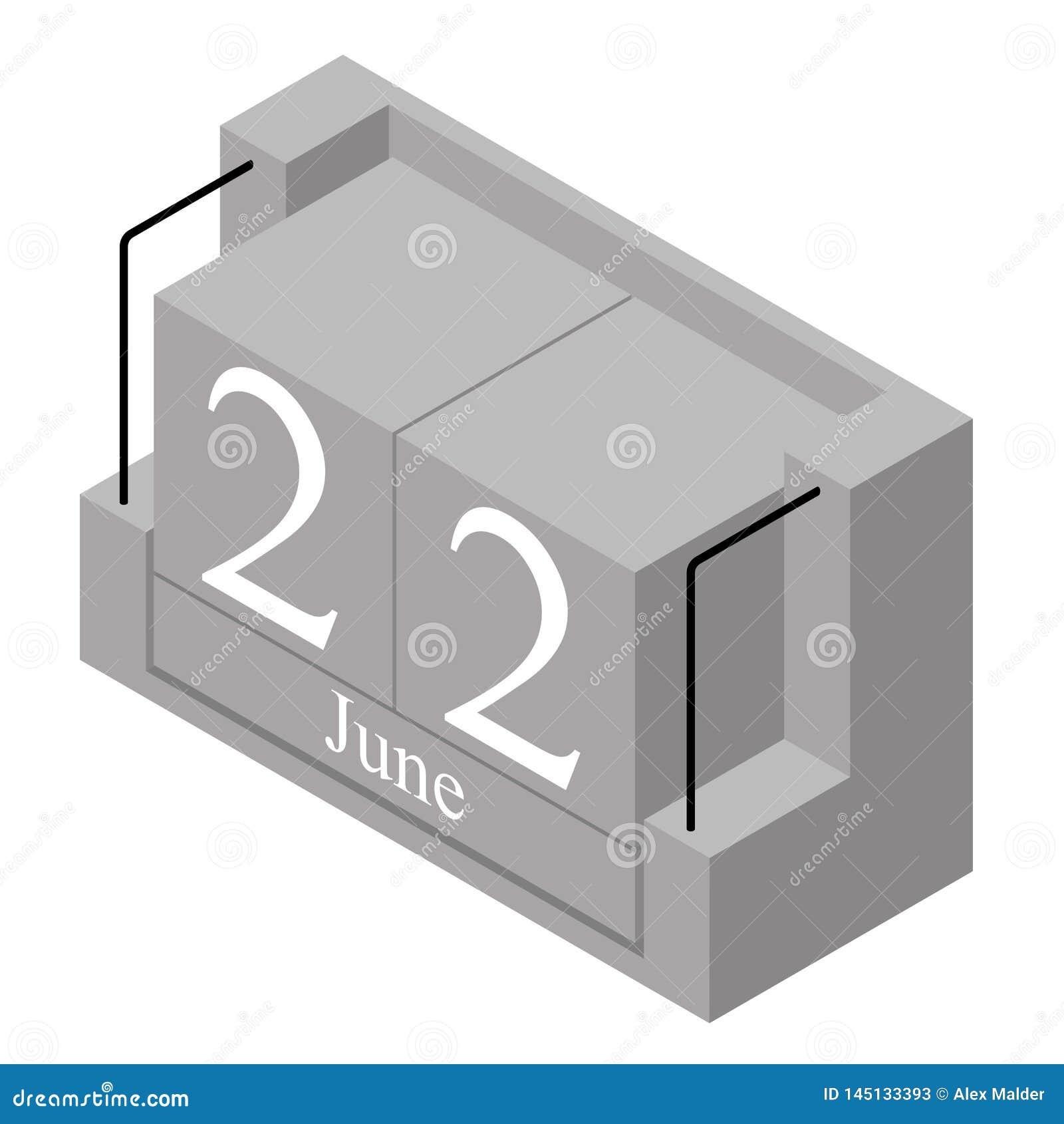 Calendario Attuale.22 Giugno Data Su Un Calendario Di Giorno Solo Data Attuale