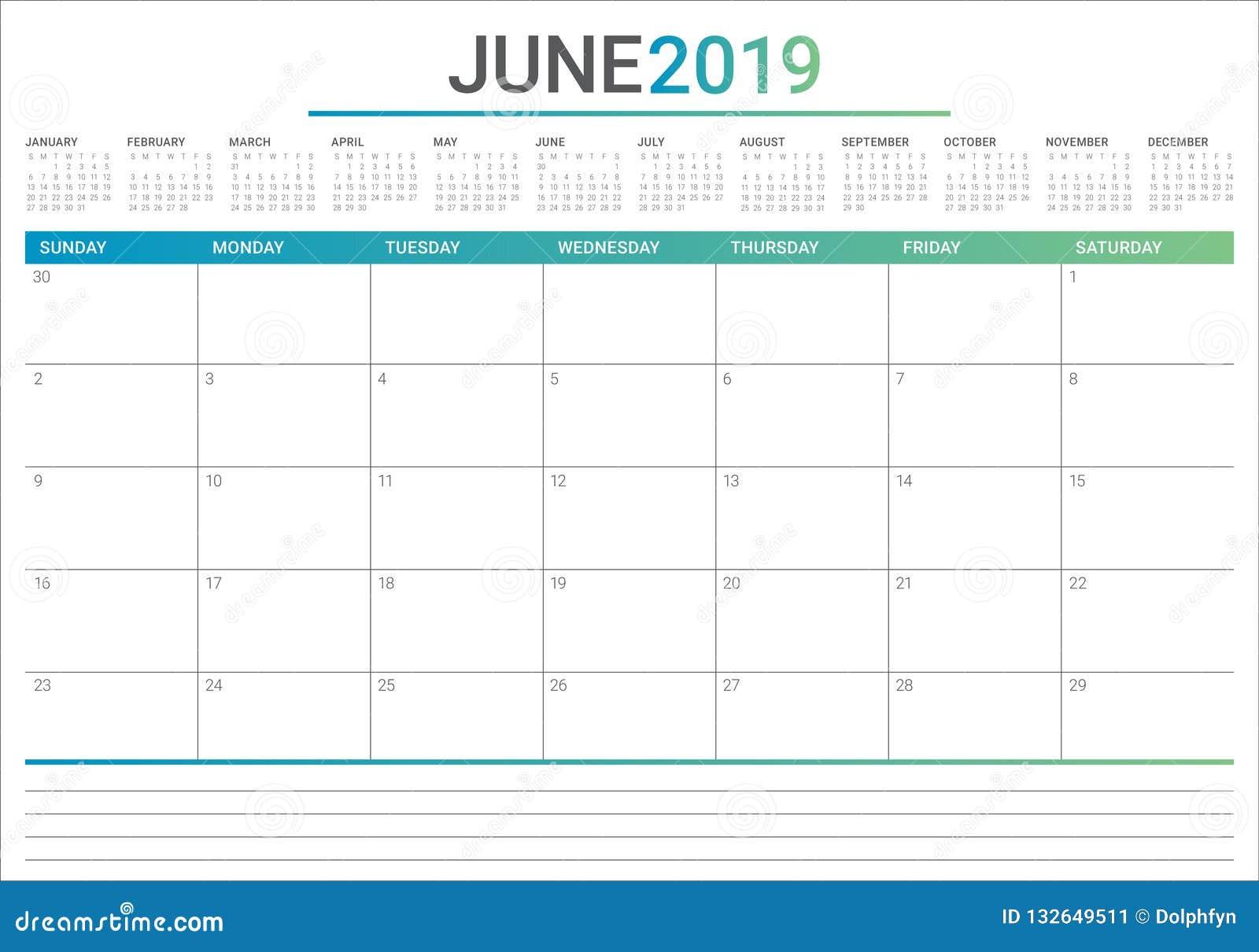 Calendario Di Giugno.Giugno 2019 Illustrazione Di Vettore Del Calendario Da