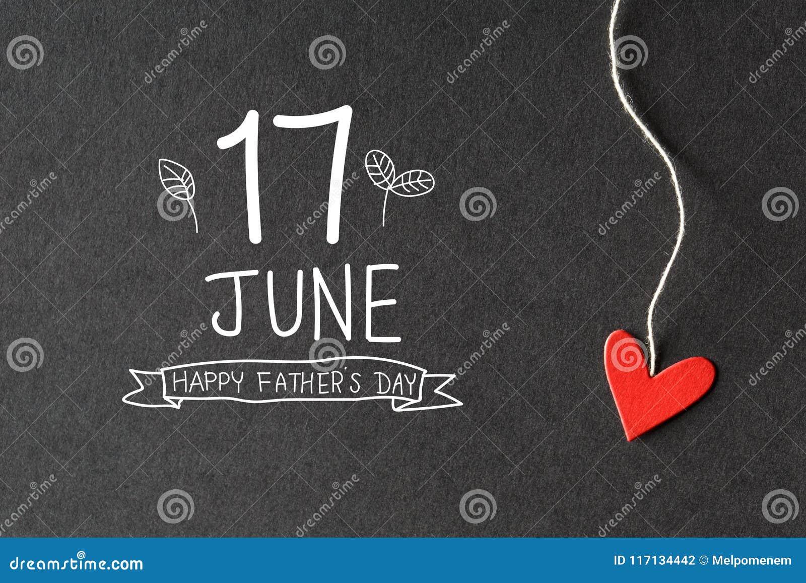 17 giugno messaggio felice di giorno di padri con i cuori di carta