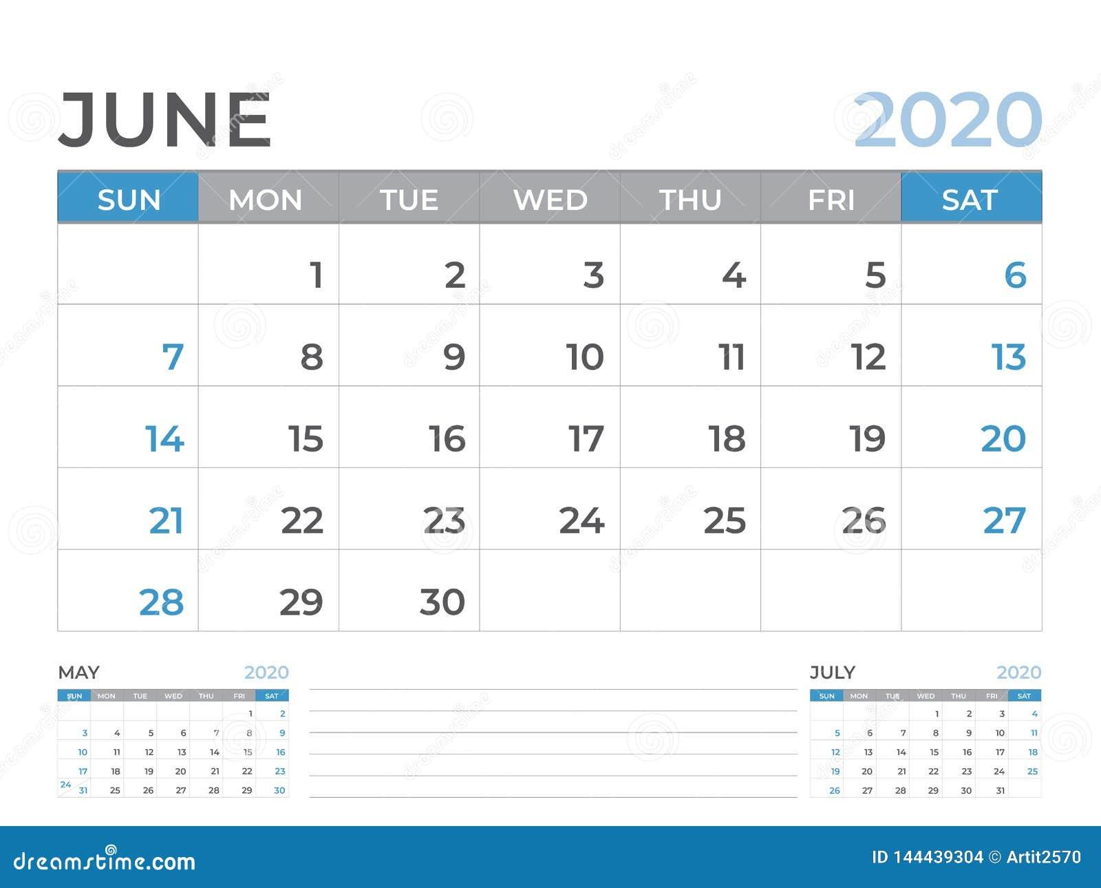 Giugno 2020 modello del calendario, dimensione 8 x a 6 pollici, progettazione del pianificatore, inizio del layout calendario di