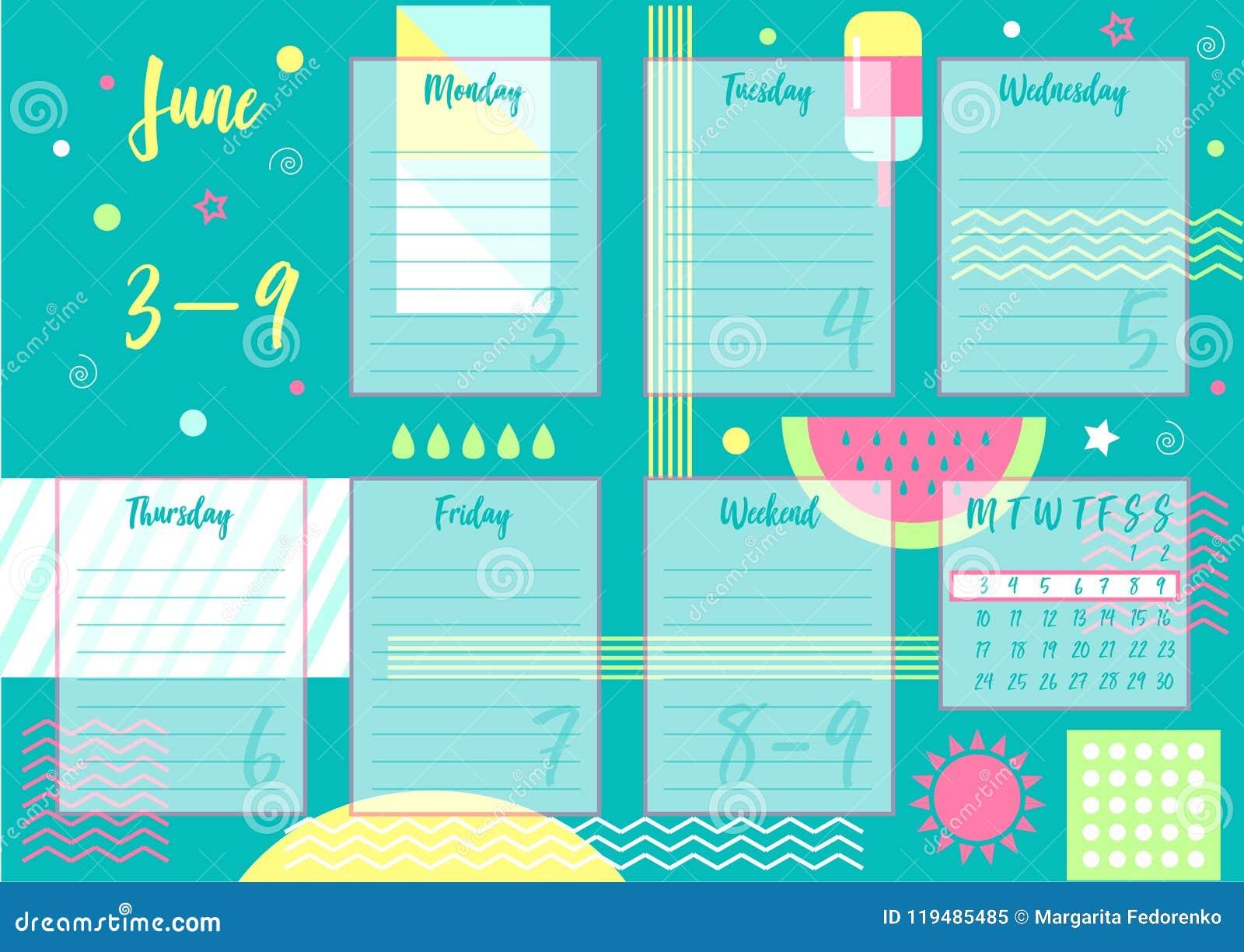 Pagina Calendario Settimanale.Giugno 2019 Pianificatore Settimanale Illustrazione