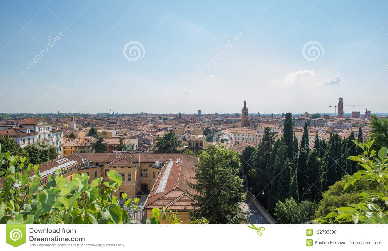 Download Giusti Gardens And A View From The Palace Verona City Italy Stock Photo