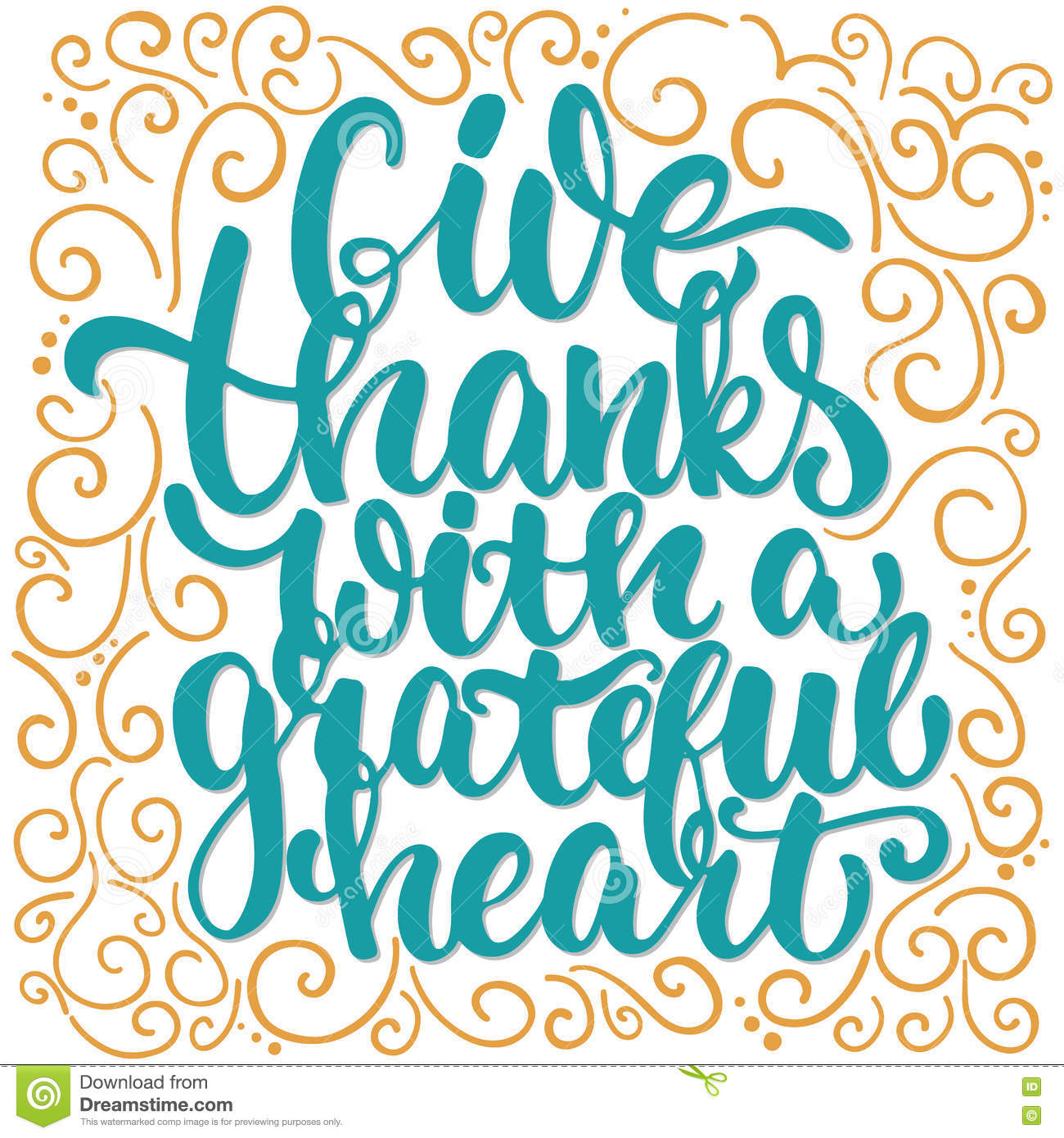 Give Thanks With A Greatful Heart - Thanksgiving Day Lettering ...