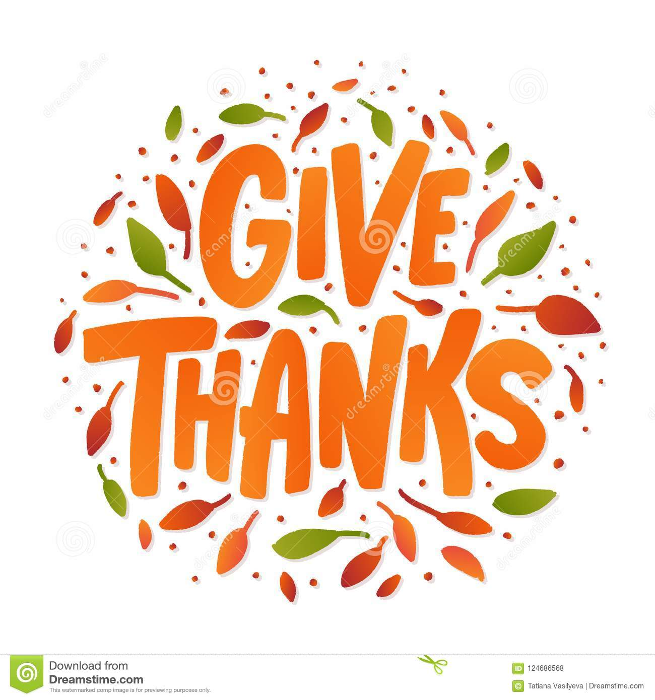Give Thanks Hand Drawn Text Lettering Card Vector Illustration