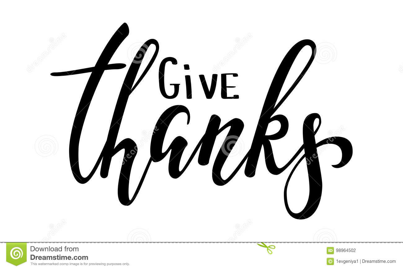 Download Give Thanks And Happy Thanksgiving Hand Drawn Calligraphy Brush Pen Lettering Isolated On