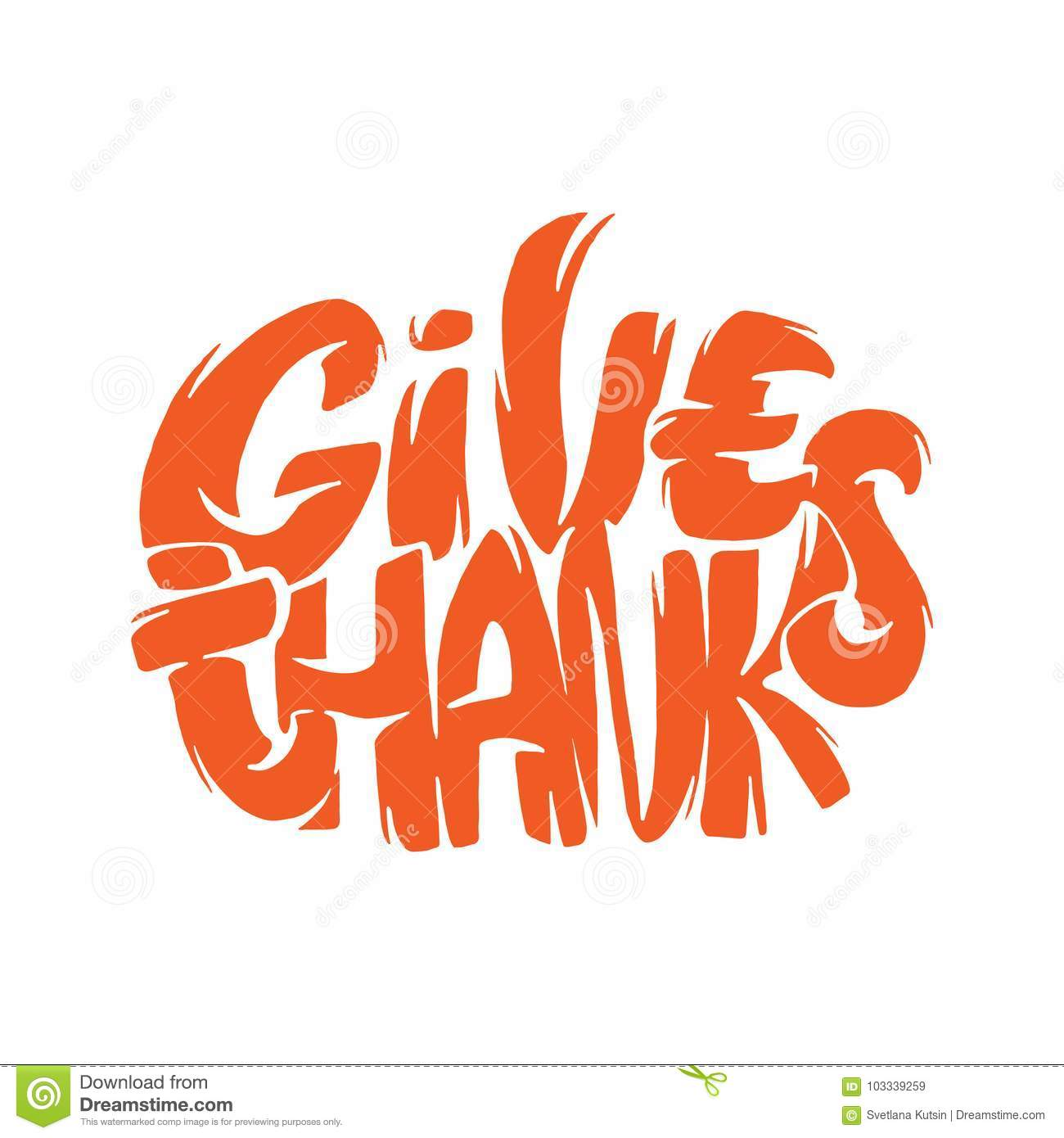 Give Thanks Lettering On White Background Pumpkin Hand Sketch