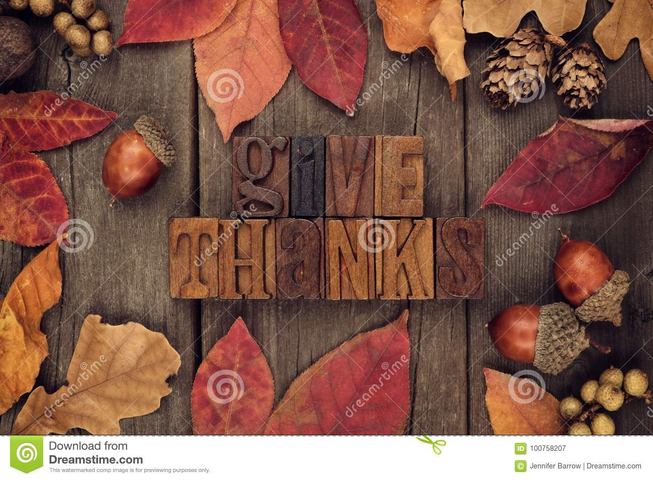 Give Thanks letterpress with frame of autumn leaves over wood