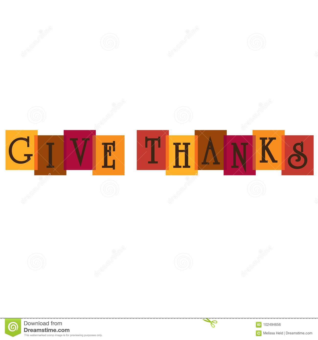 Give Thanks Typography On Overlapping Colors Stock Illustration