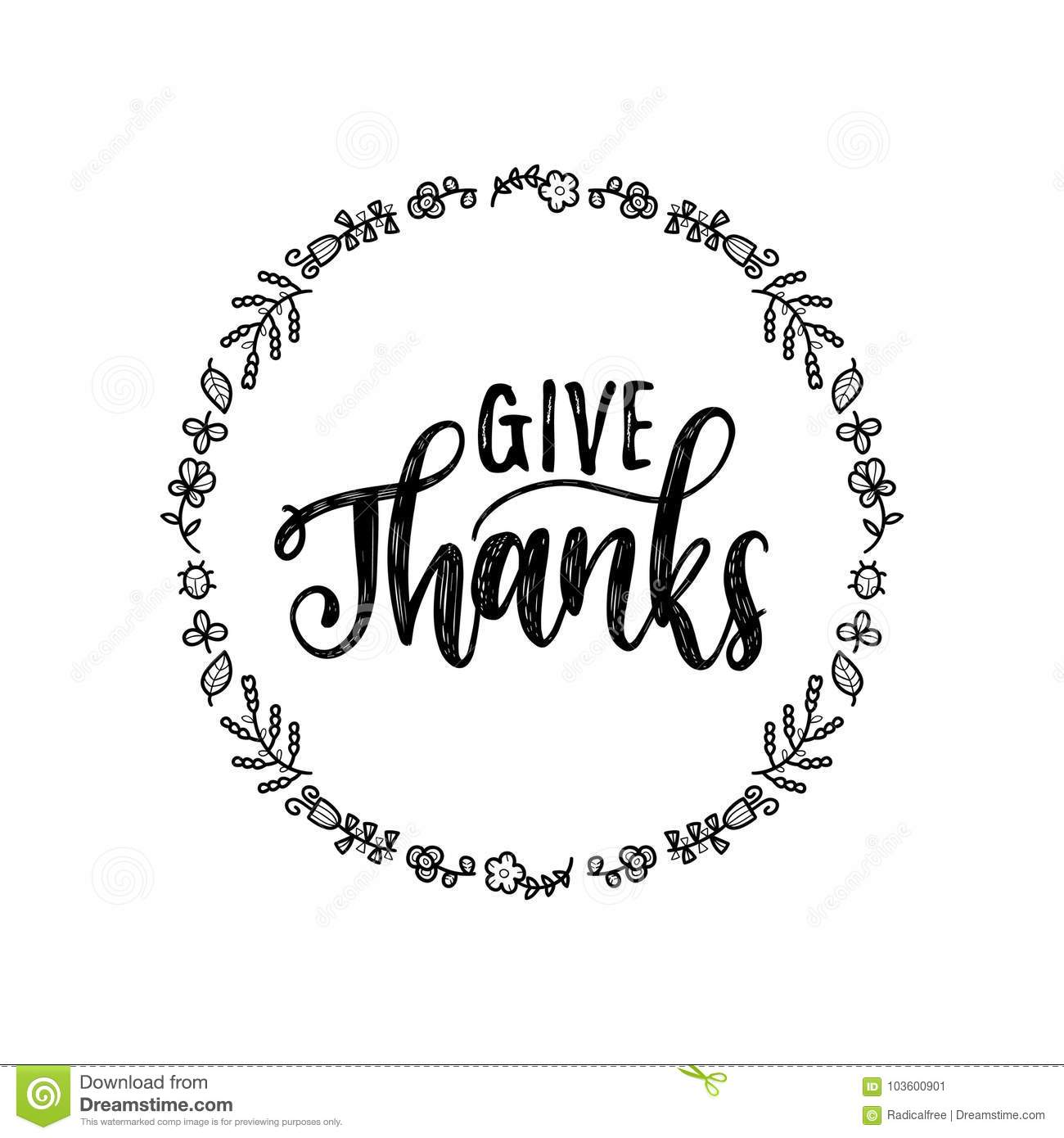 Give Thanks Vector Lettering In Round Foliage Frame. Illustration ...