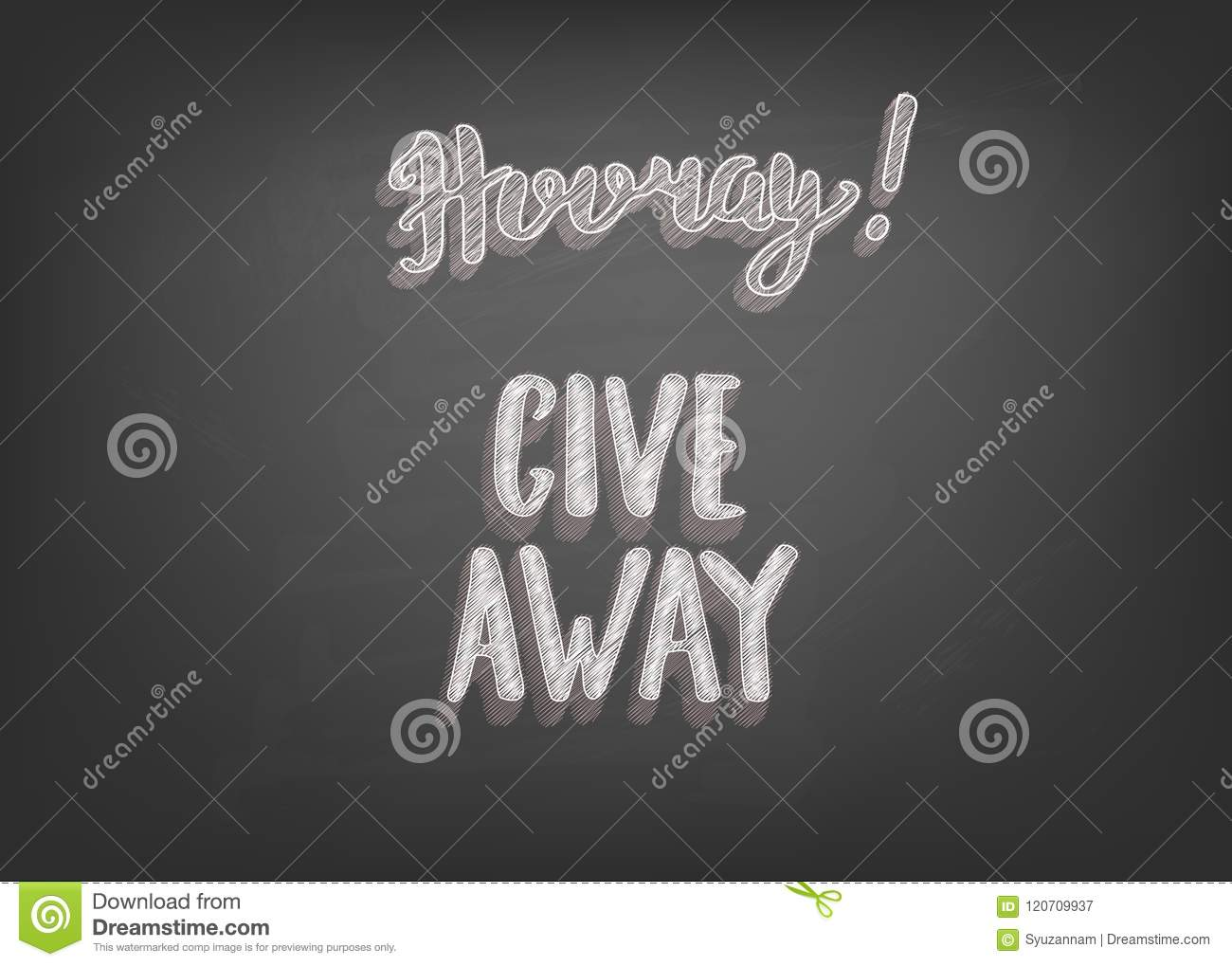 Giveaway Handwritten Lettering On Chalkboard Card Vector Illustration