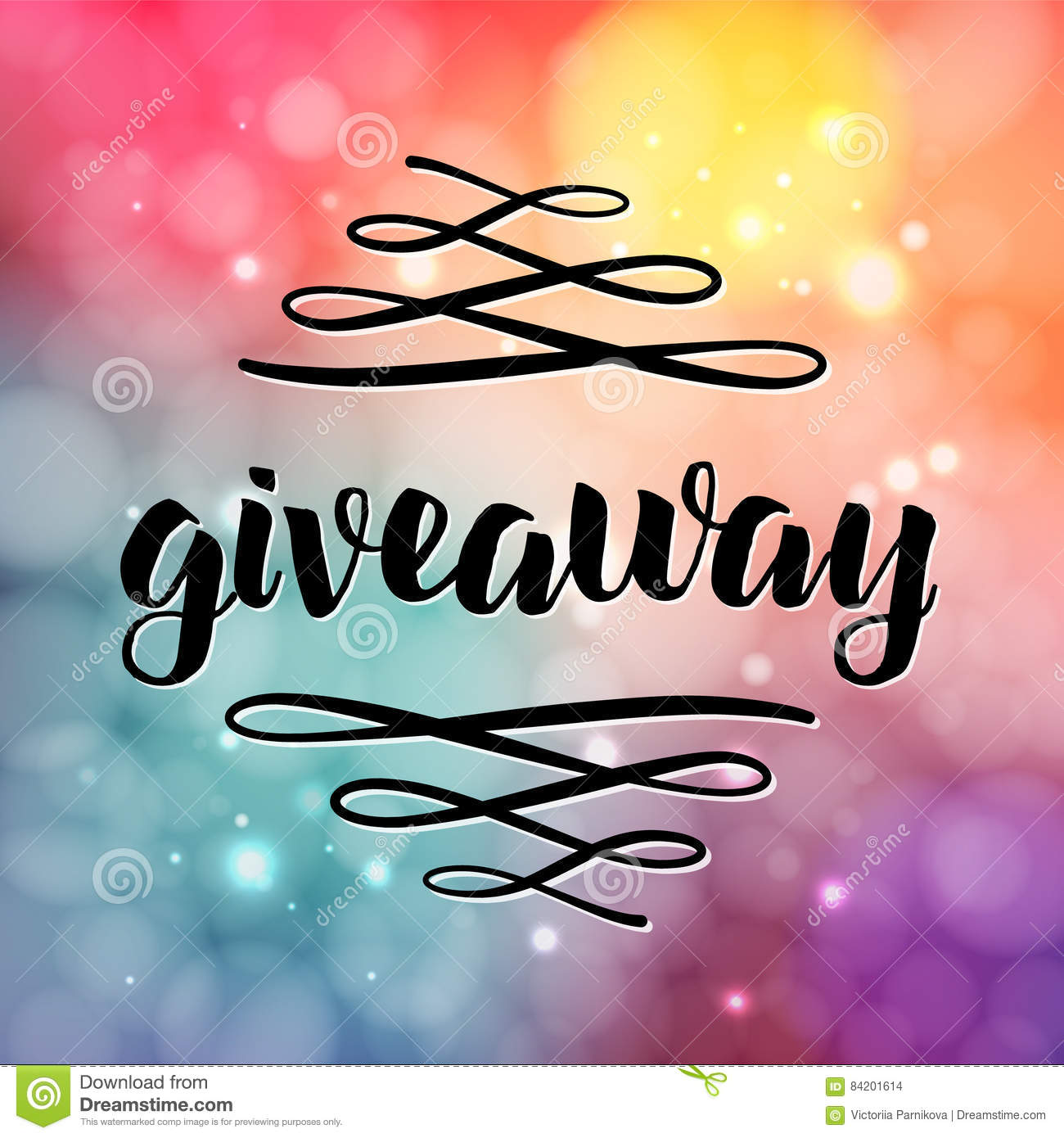Giveaway Lettering For Promotion In Social Media With Swashes On