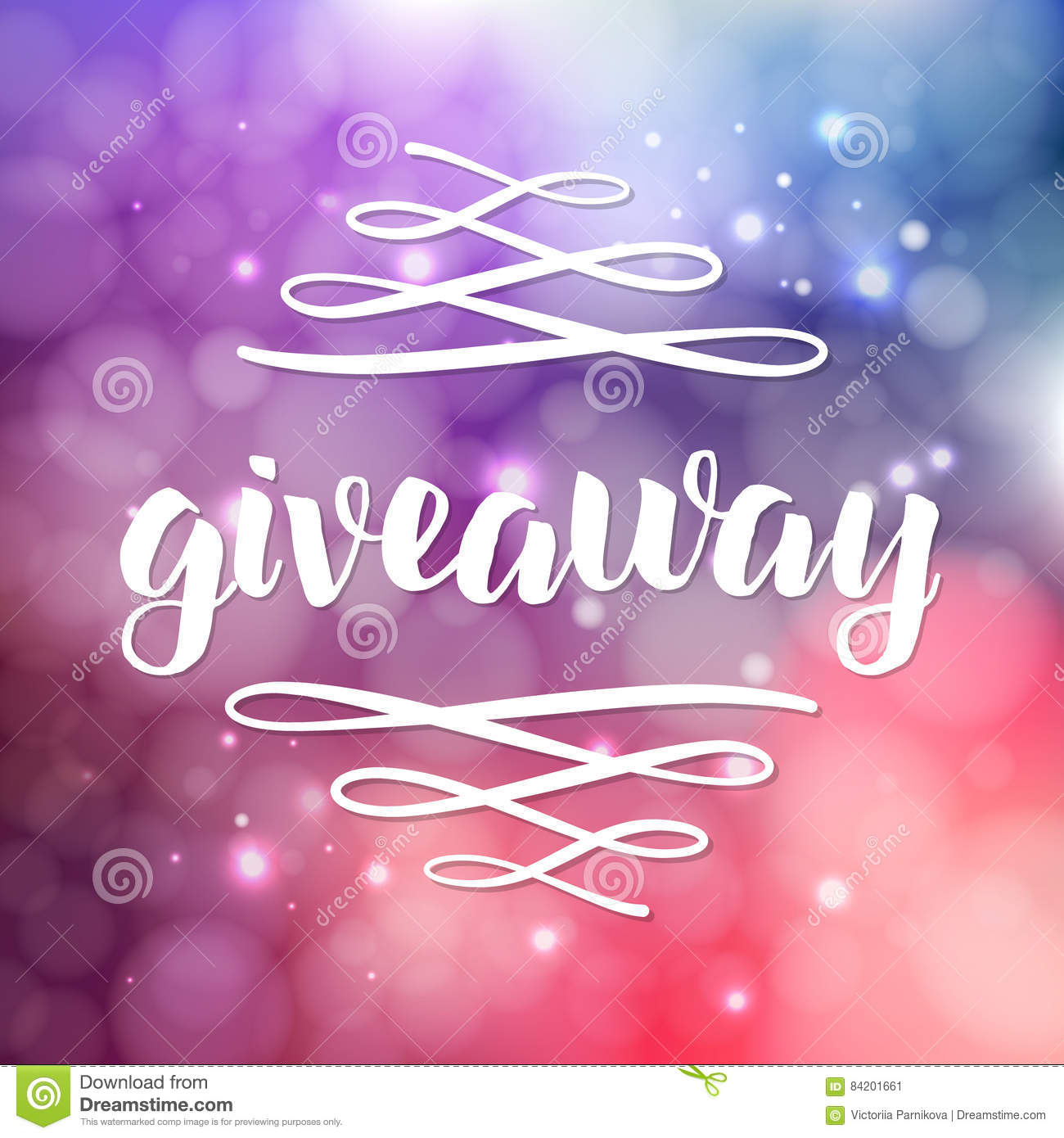 Giveaway Lettering For Promotion In Social Media With Swashes On Blurred Background With Lights Free Gift Raffle Win A Freebies Vector Advertising
