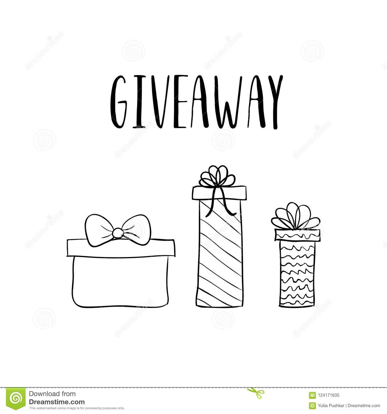 giveaway vector template with hand drawn gift boxes stock vector