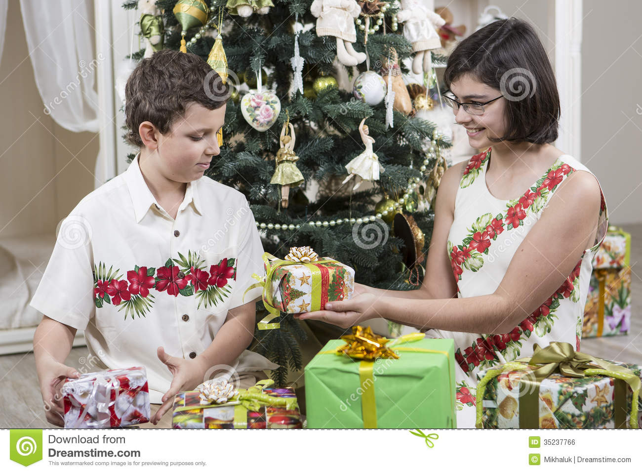 Giving Christmas gifts stock photo. Image of present - 35237766