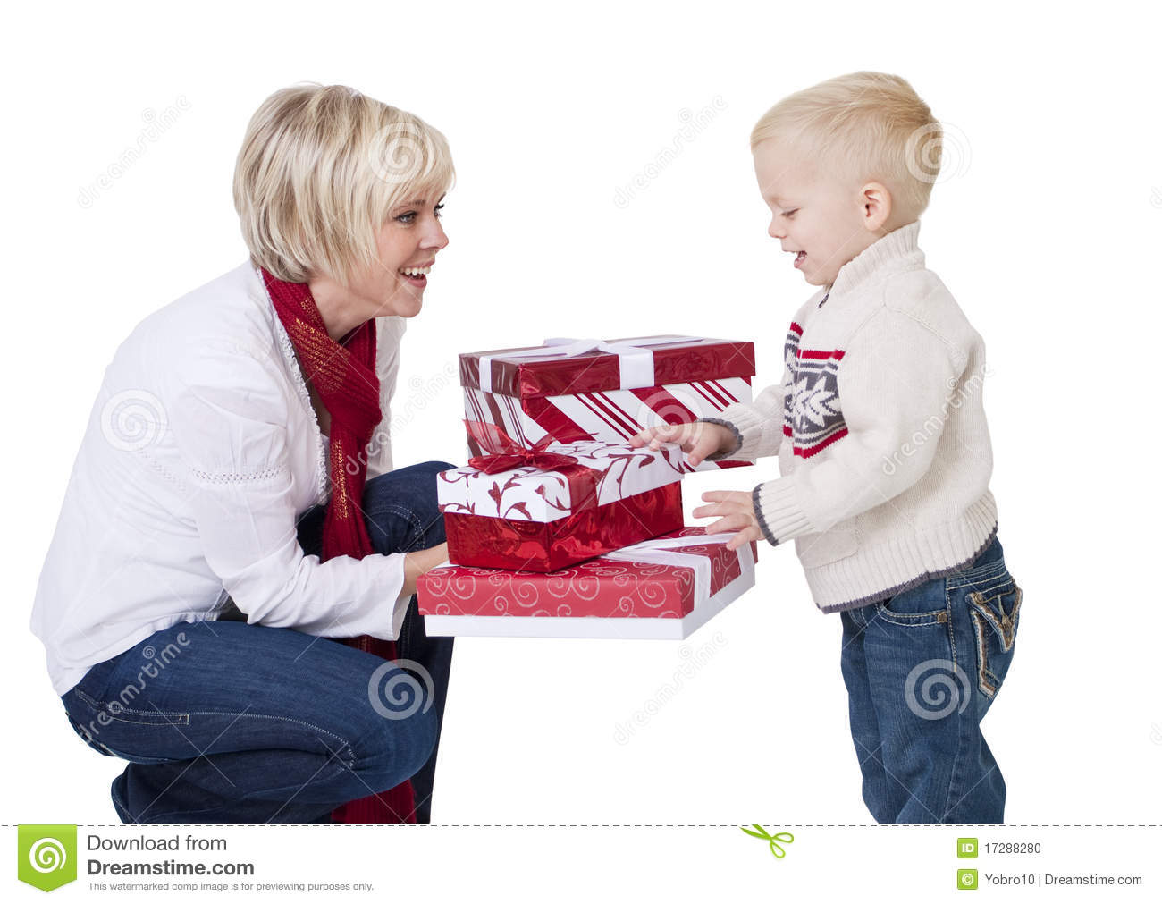 Giving Christmas Presents To A Child Stock Photo - Image ...