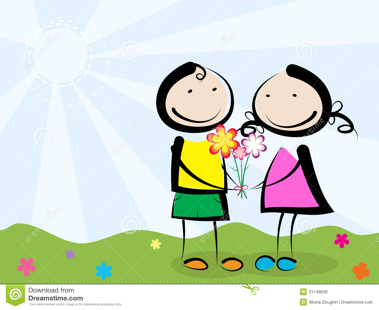Giving Flowers Stock Photo - Image: 31149630