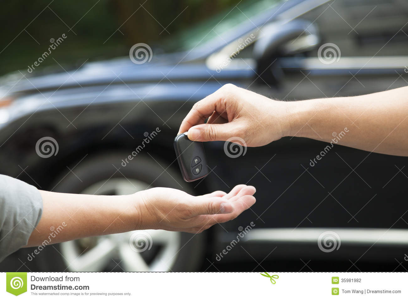 Giving Receiving Car Key Hands
