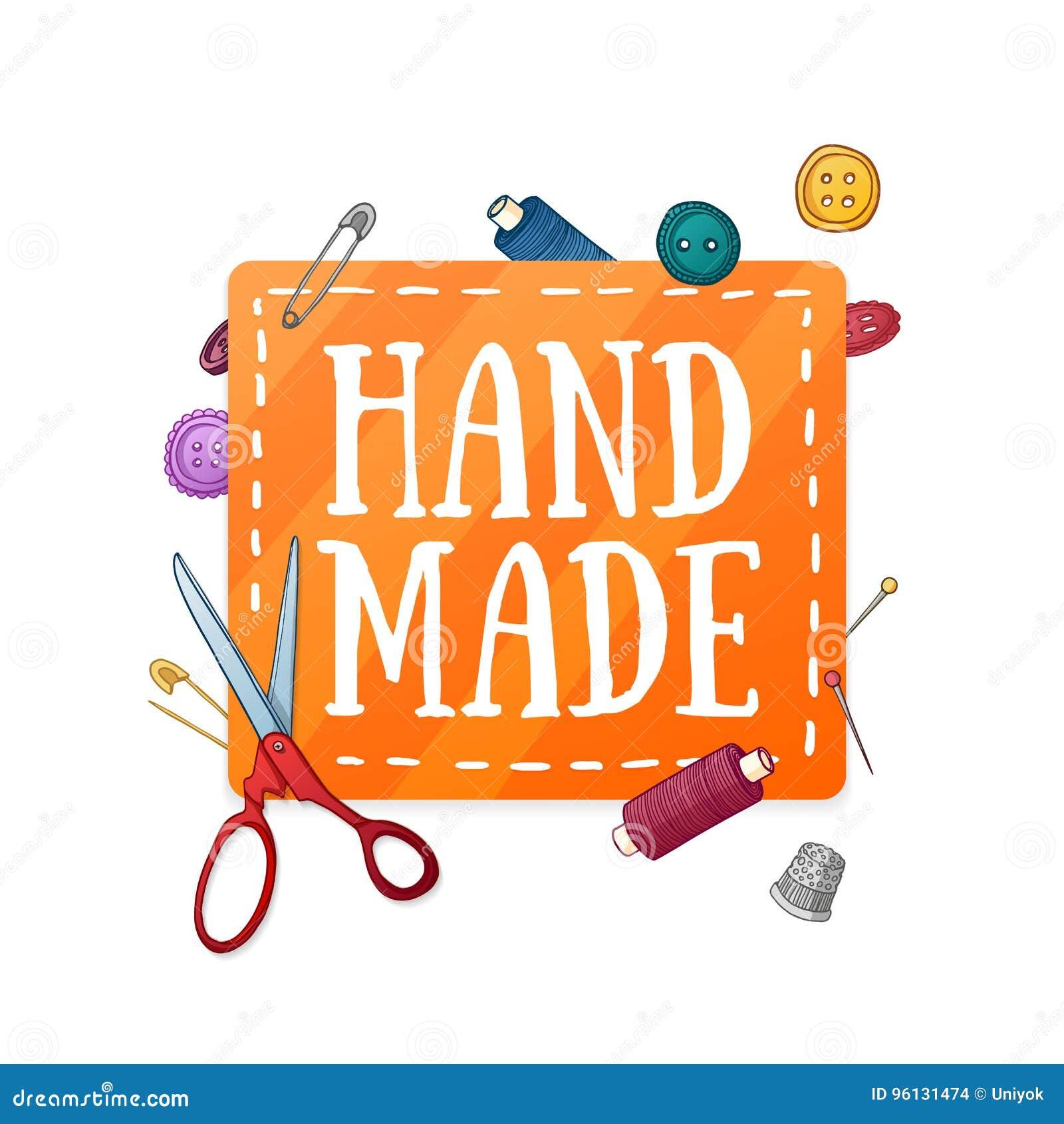 Gjord hand för banerdesignmall - Färglappen med dekoren av sömnadattributen Ram av knappar, sax