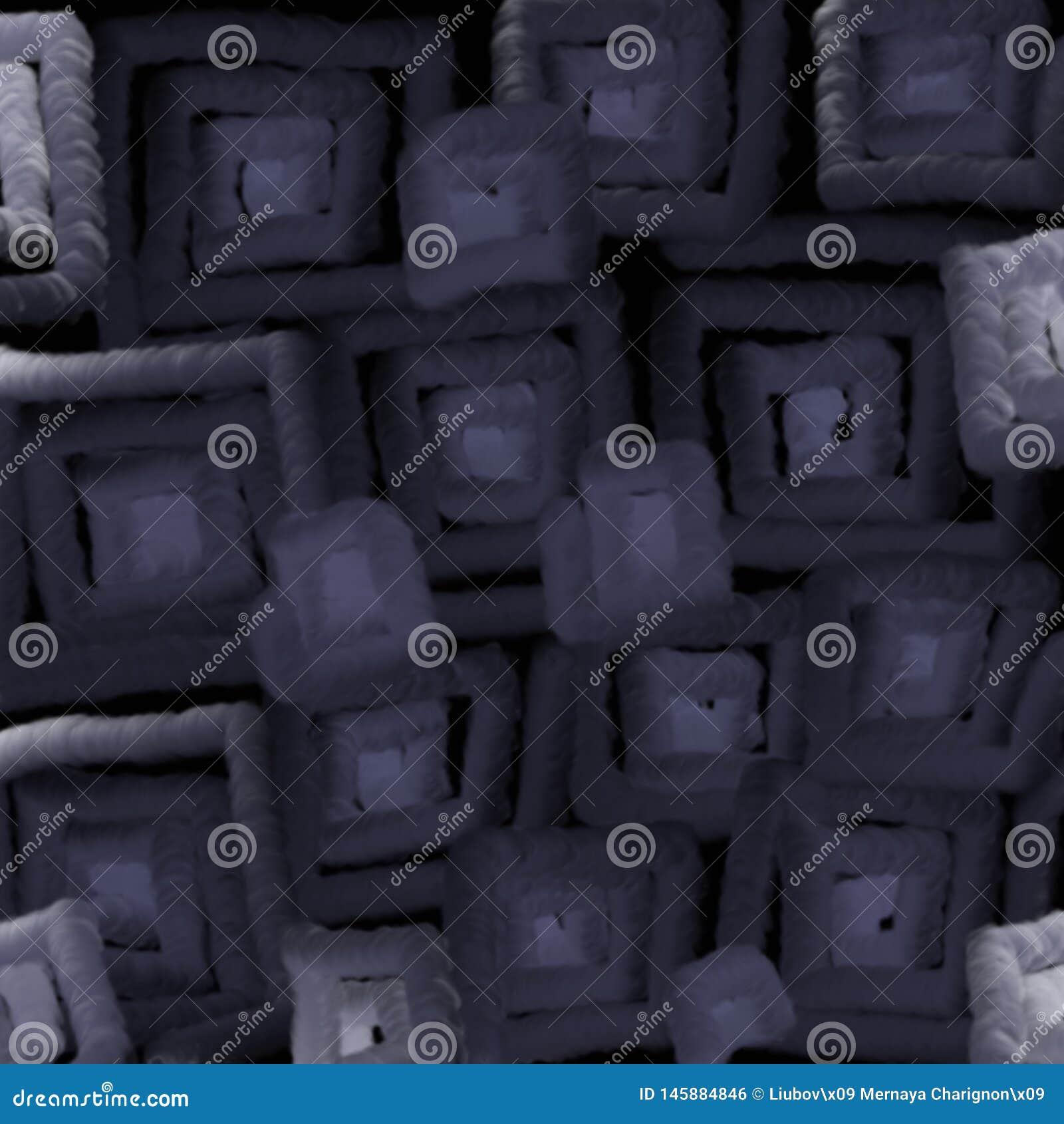 Gjord suddig textur av mörka fyrkanter tänder abstraktionen för en bakgrund illusion 3D av mjukt ljus