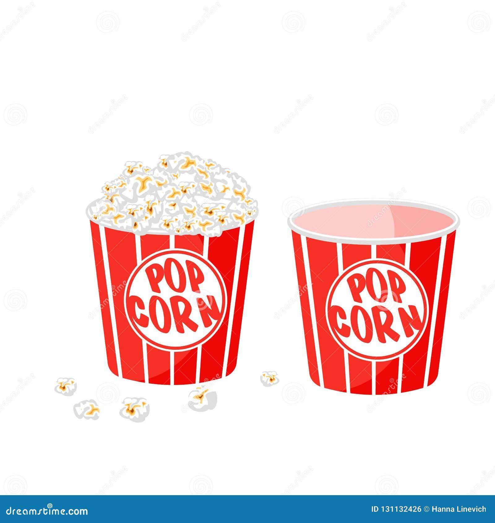 Gjort randig popcorn i badar på vit bakgrund