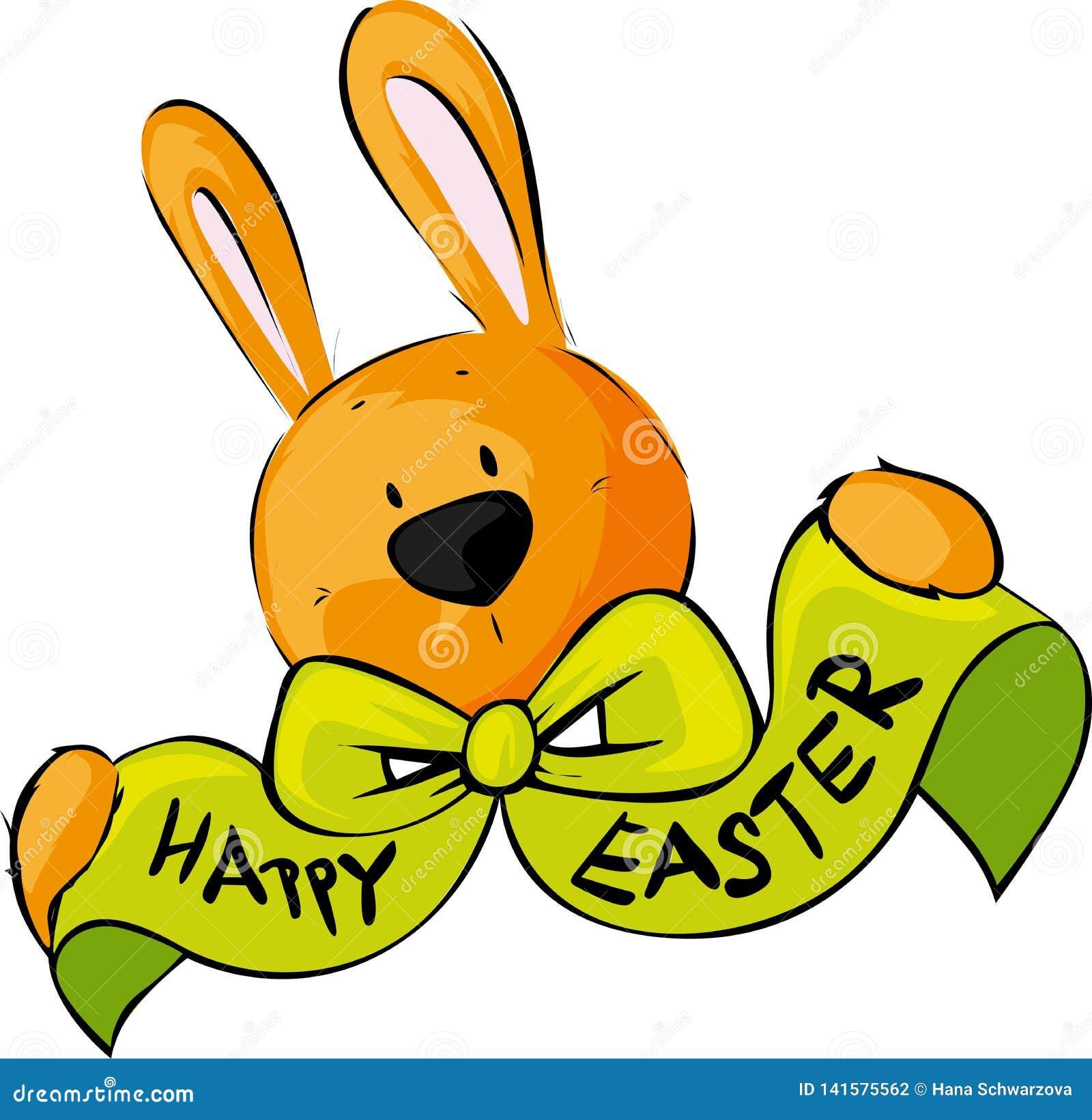 Glücklicher Ostern-Wunsch-Bogen Bunny Vector Illustration