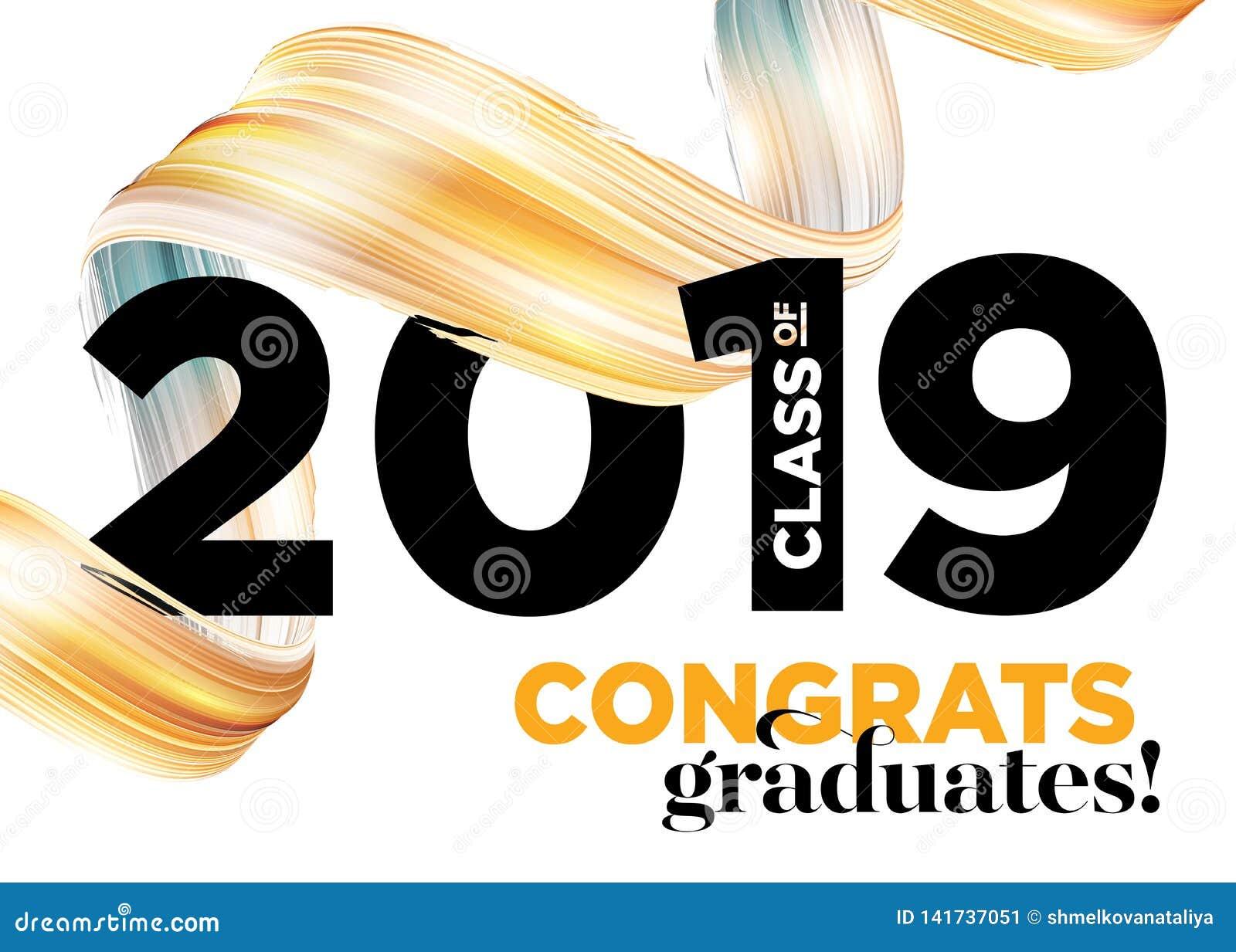 Glückwunsch-Absolvent-Klasse von Vektor-Logo 2019 Staffelungs-Hintergrund-Schablone Gruß der Fahne für College-Staffelung