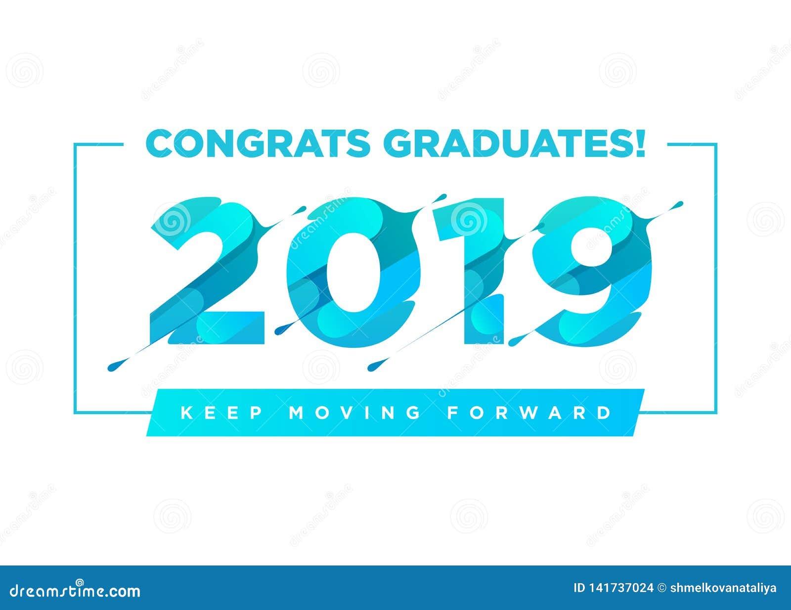 Glückwunsch-Absolvent-Vektor-Logo Staffelungs-Hintergrund-Schablone mit inspirierend Zitat Gruß der Fahne für College