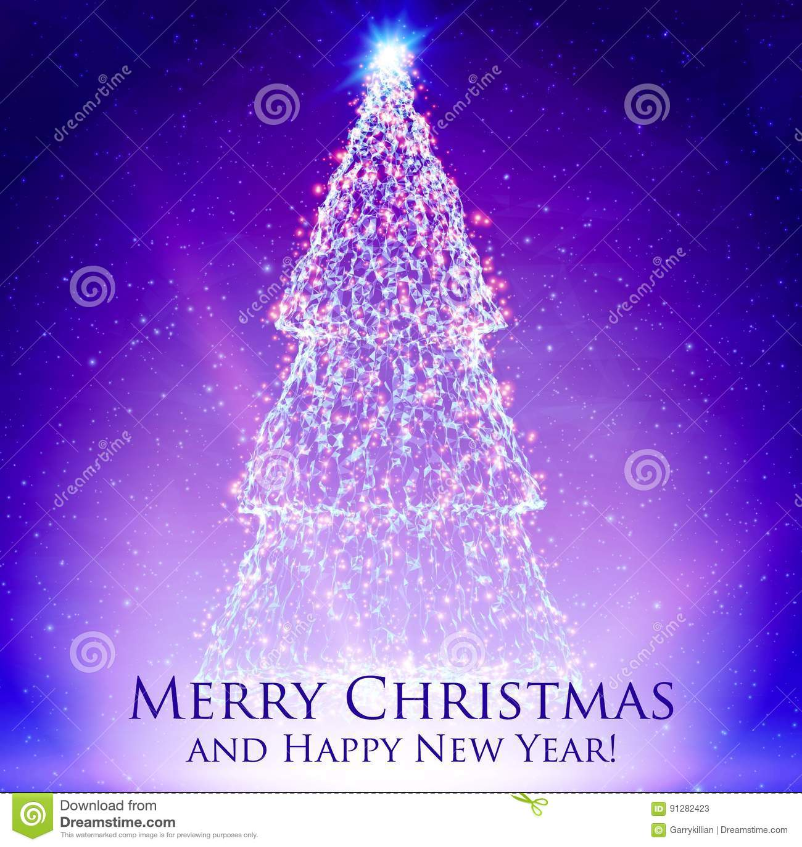 Glänsande julträd på färgrik violett bakgrund med panelljuset och glödande partiklar