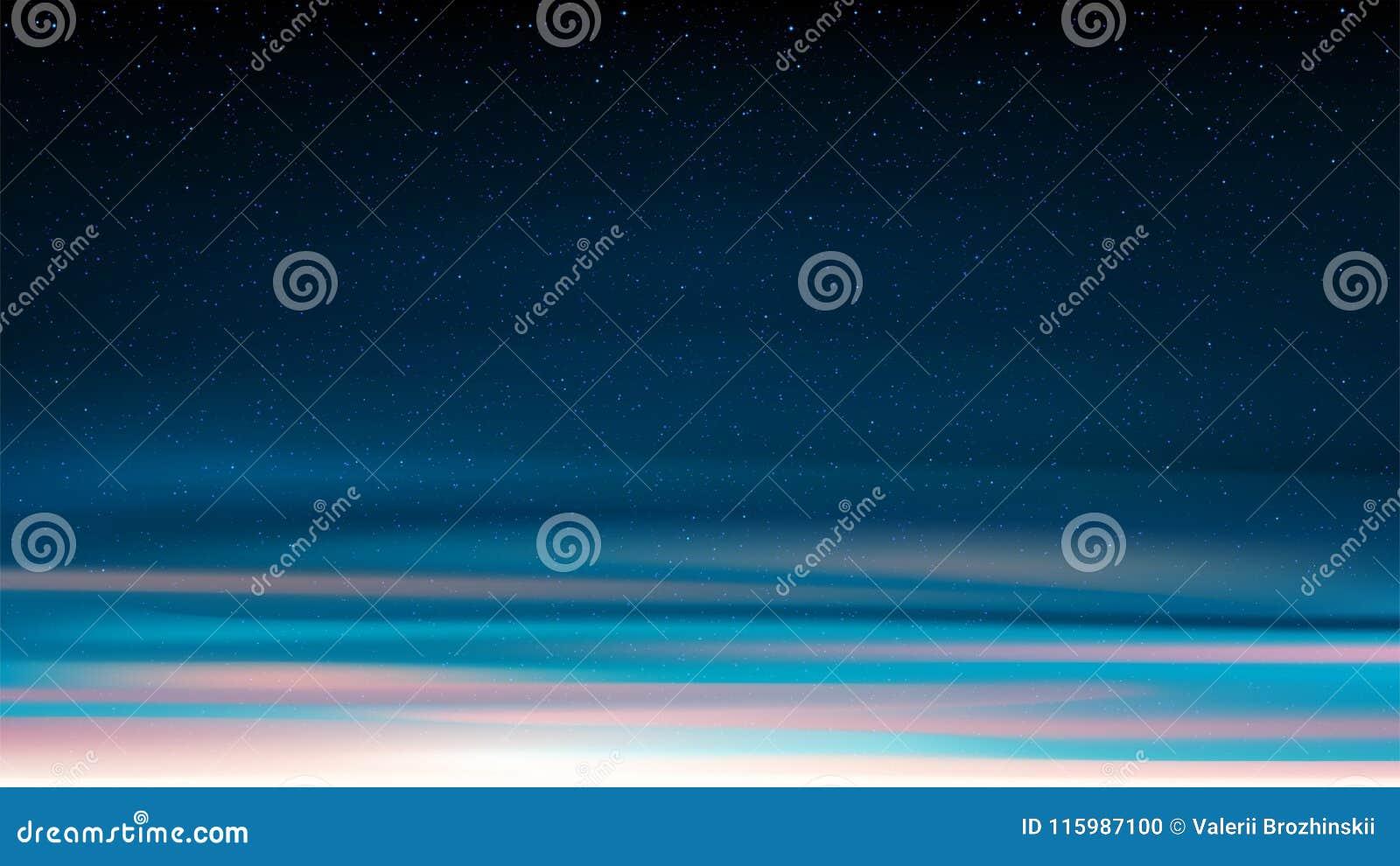 Glänsande stjärnklar himmel för afton, blå kosmisk bakgrund för natt med st