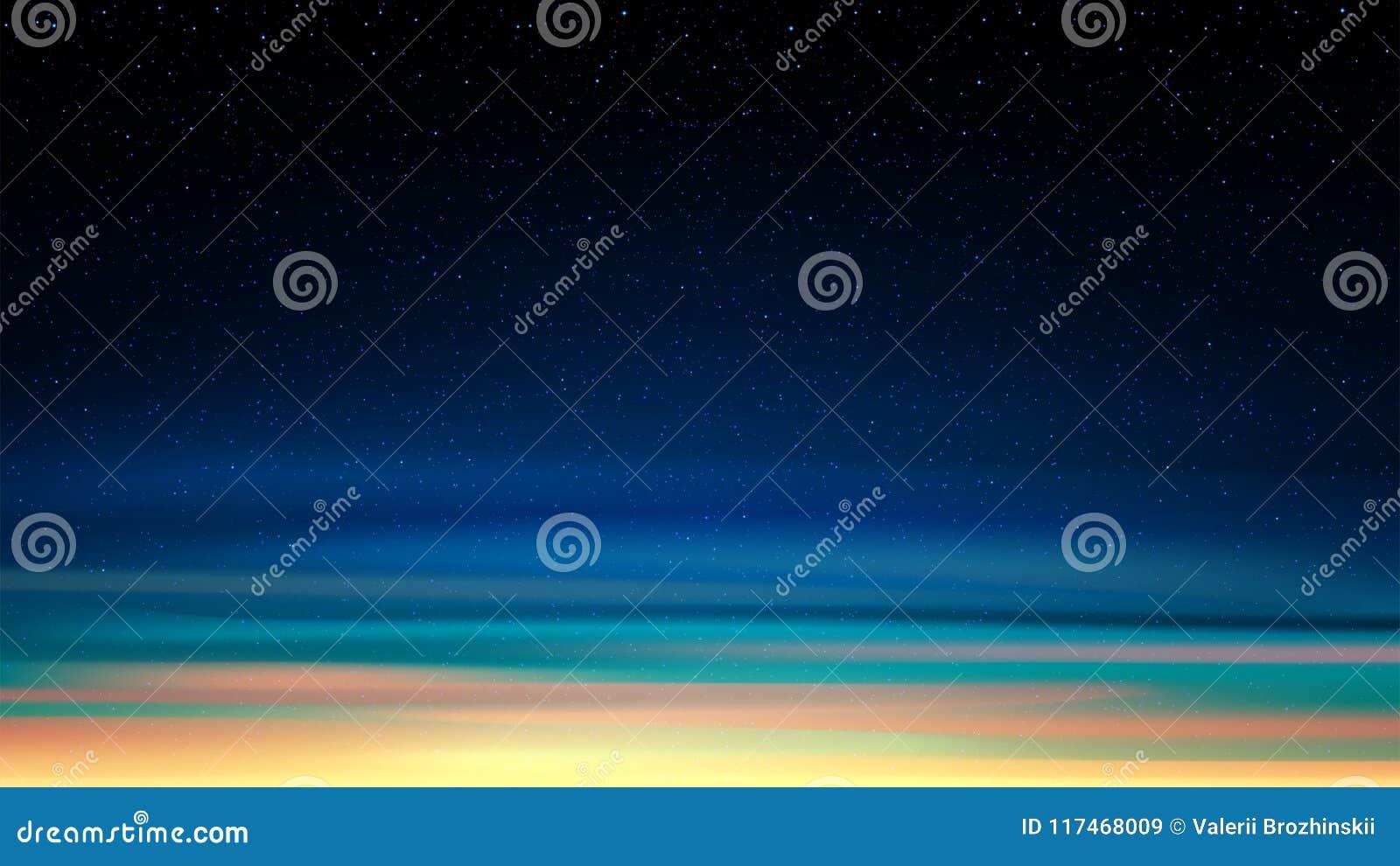 Glänsande stjärnklar himmel för afton, nattbakgrund med stjärnor, utrymme, solnedgånghimmel