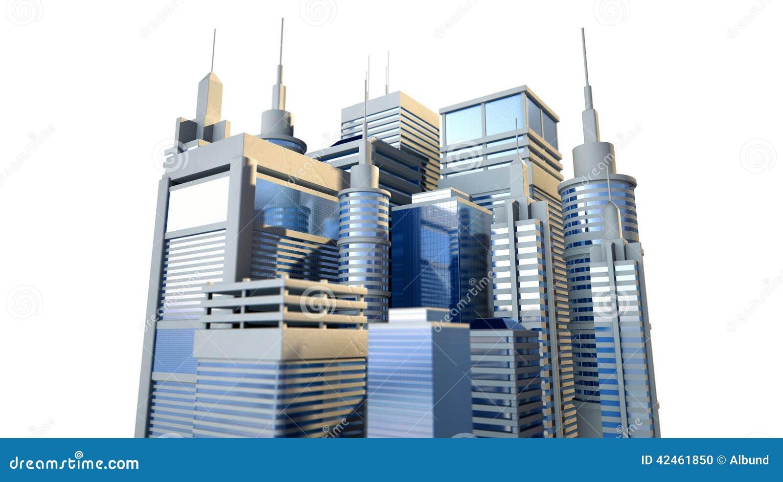 Glänzende moderne Stadt-Gruppe