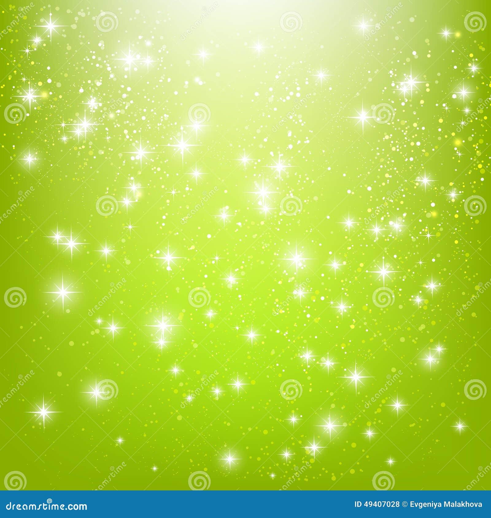 Download Glänzende Sterne auf Grün vektor abbildung. Illustration von hell - 49407028
