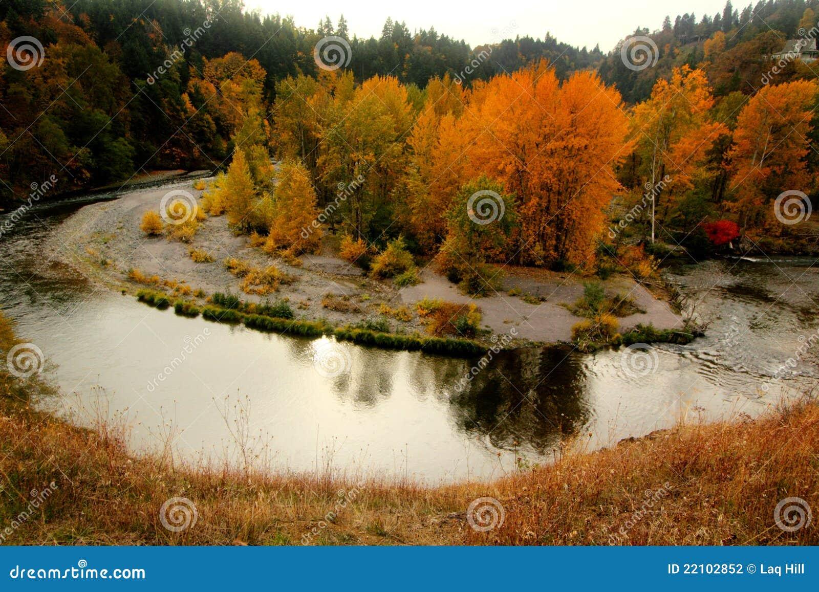 Glänzender Herbst-Fluss