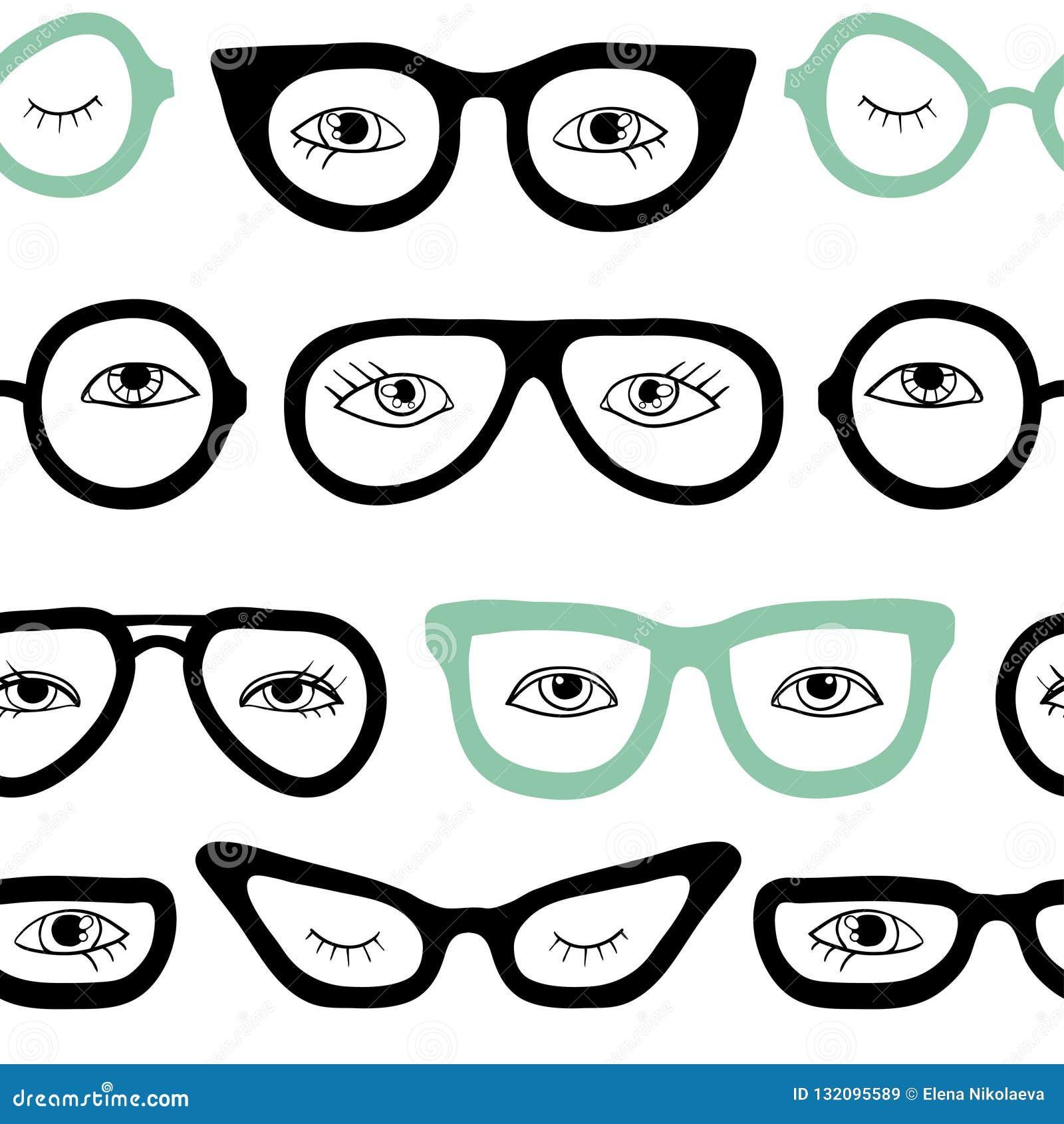 Gläser und nahtloses Muster der Augen