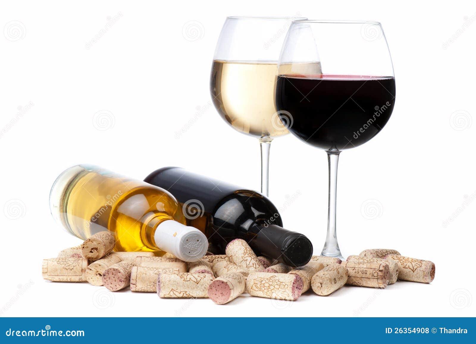 Download Gläser Weißer Und Rotwein Und Korken Stockfoto - Bild von getrennt, romantisch: 26354908