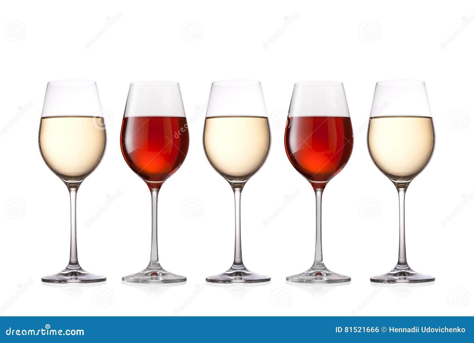 Gläser Wein lokalisiert auf weißem Hintergrund