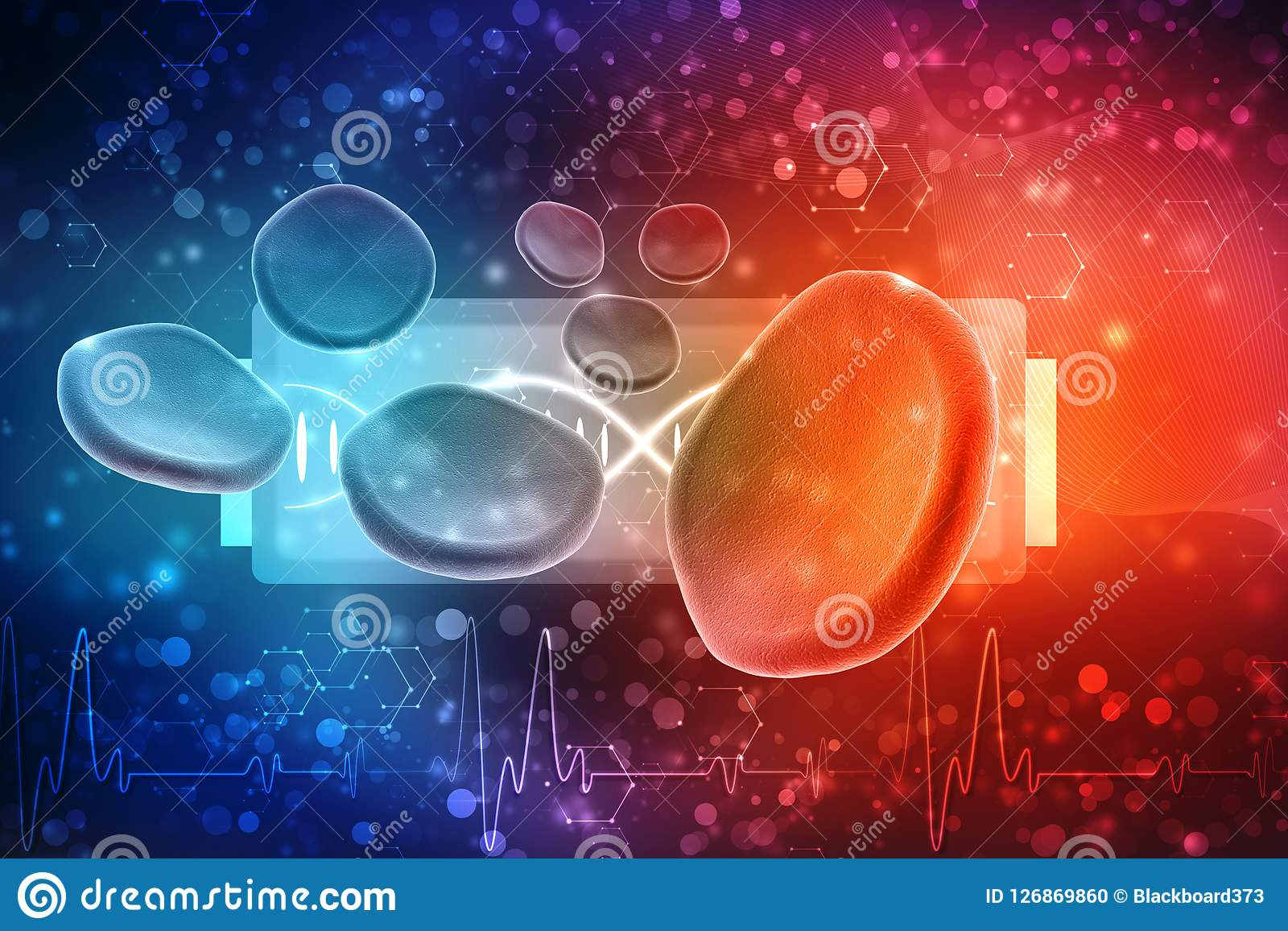 Glóbulos rojos en fondo médico 3d rinden